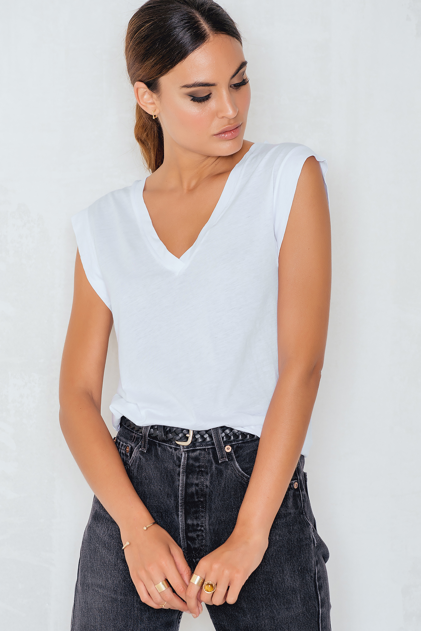 White Summer V-neck Tee