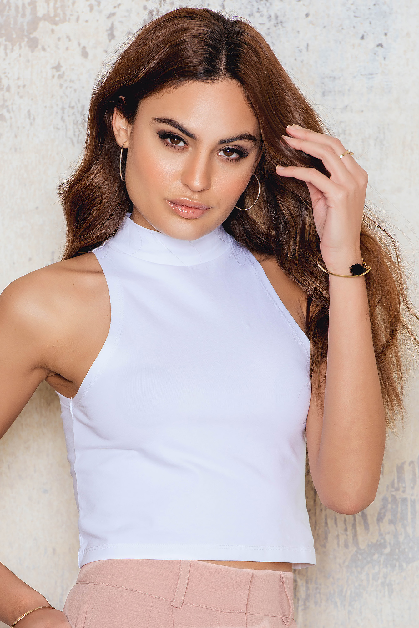 White Jersey Cropped Polo Top