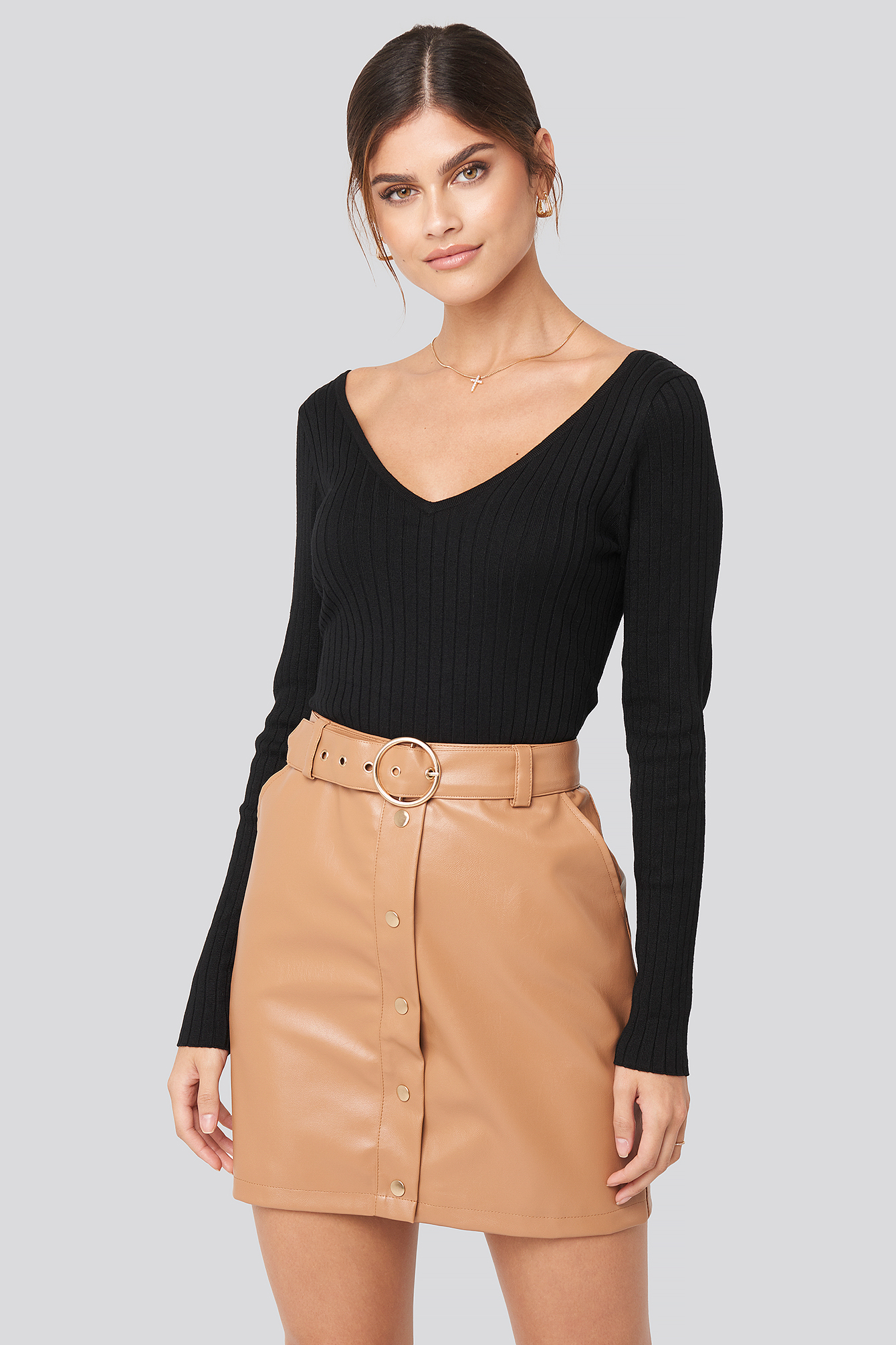 Tan PU Button Detail Skirt