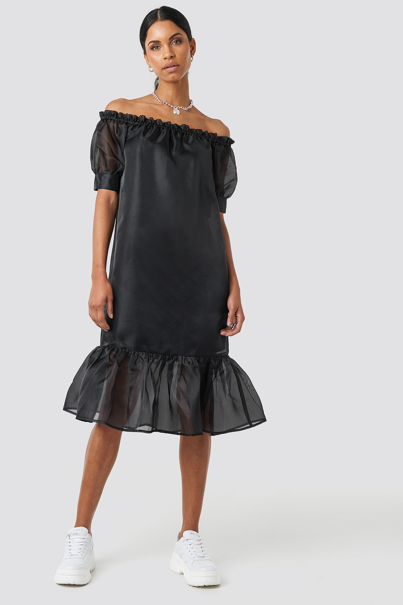 Black Off Shoulder Puffy Mid Flounce Dress