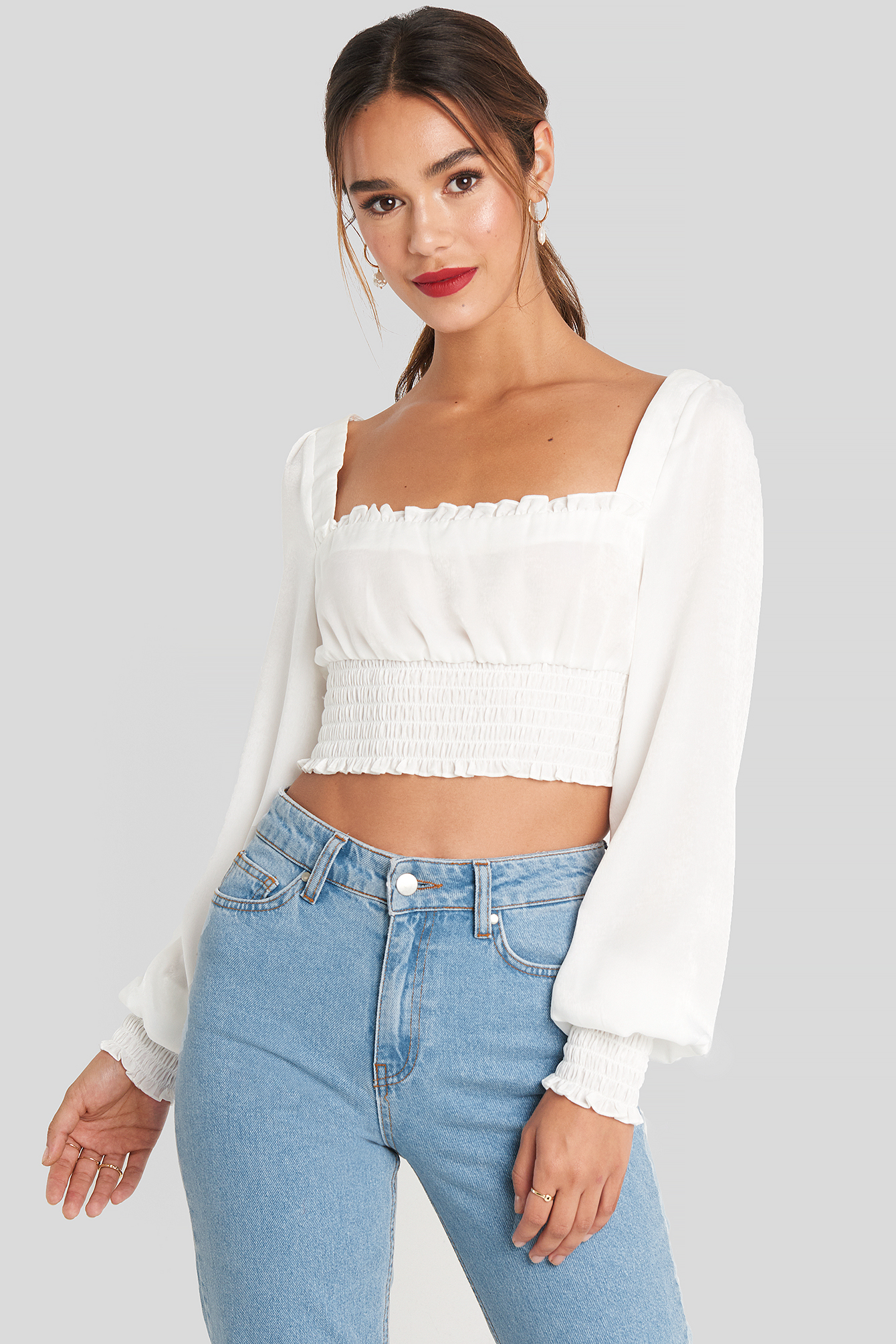 White Cropped Ruffle Top