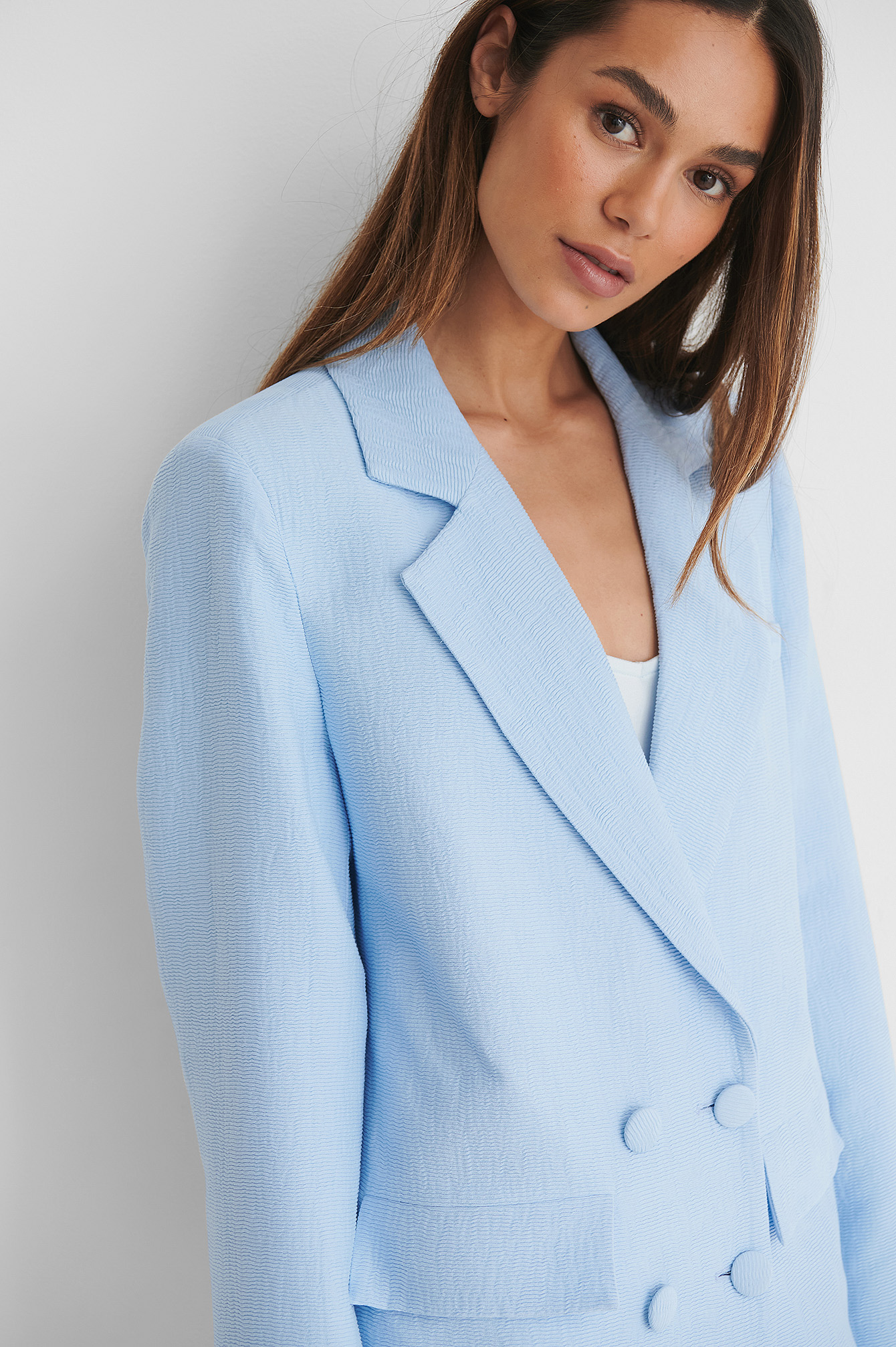 Light Blue Blazer Double Boutonnage