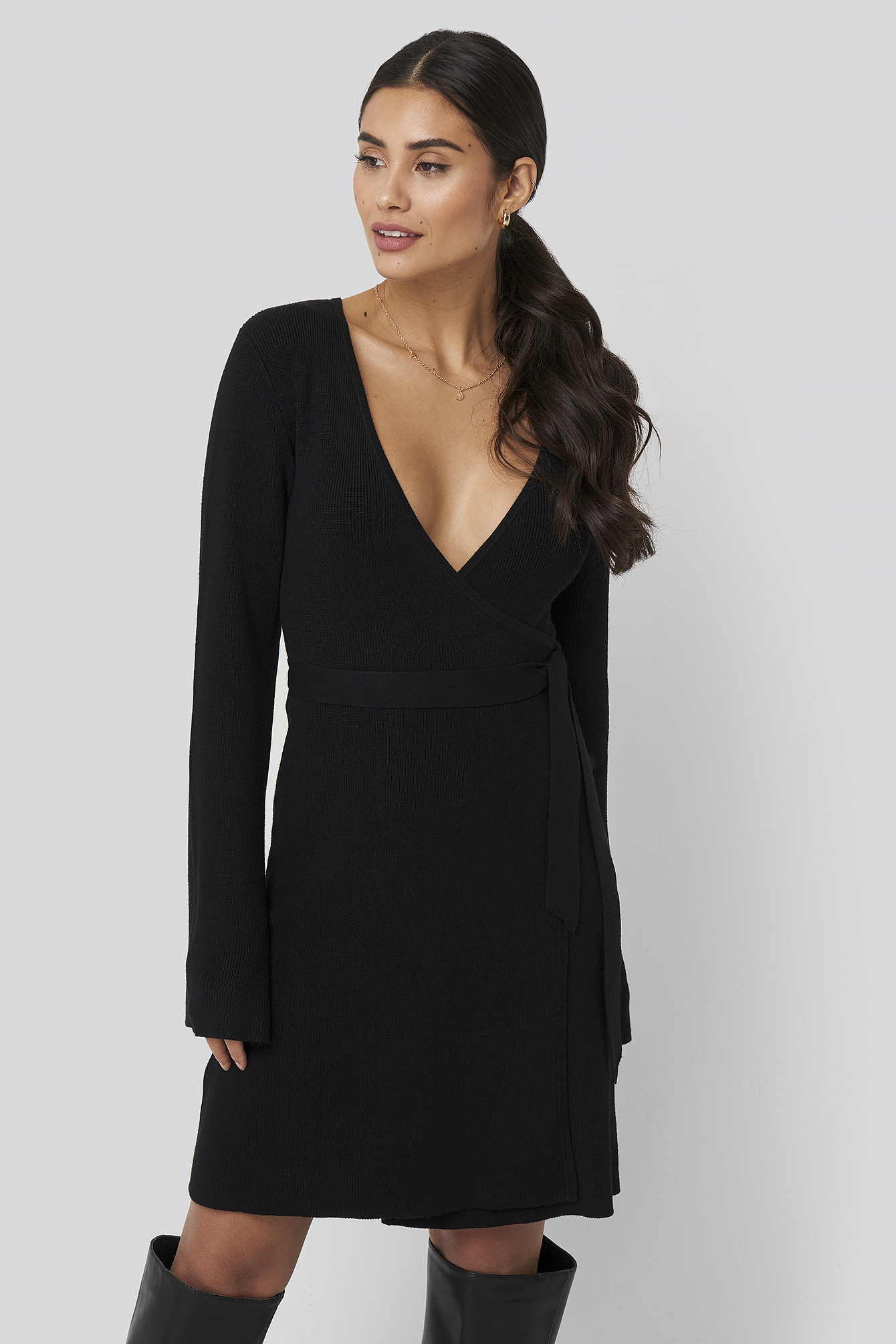 Black Overlap Rib Knitted Dress