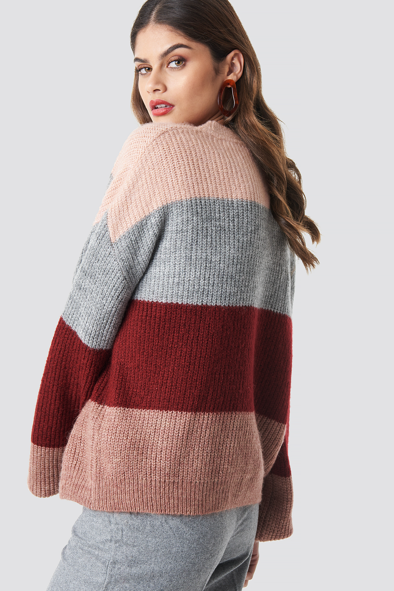 Pink Color Striped Balloon Sleeve Knitted Sweater