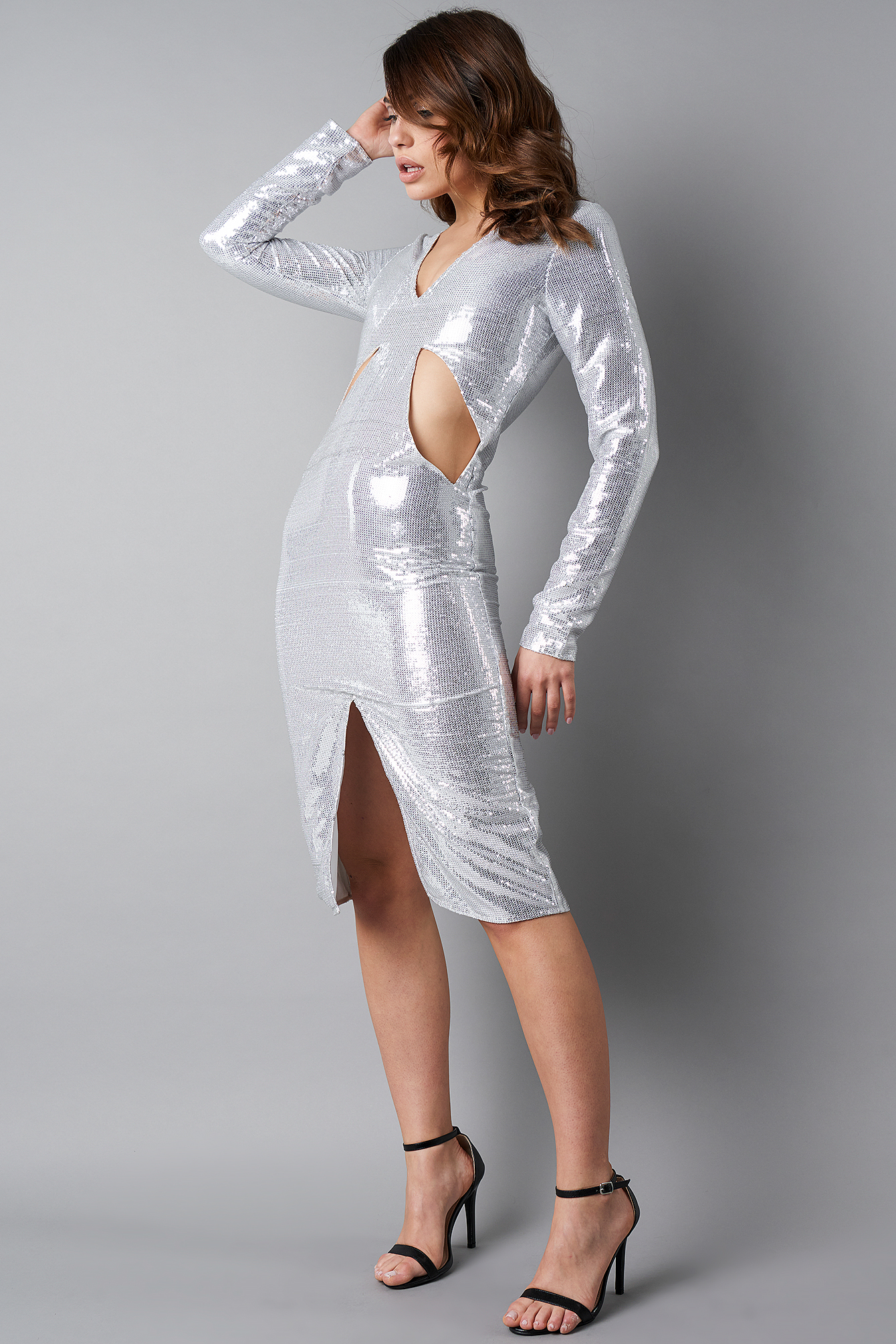 Silver Deep V-Neck Cut Out Midi Dress