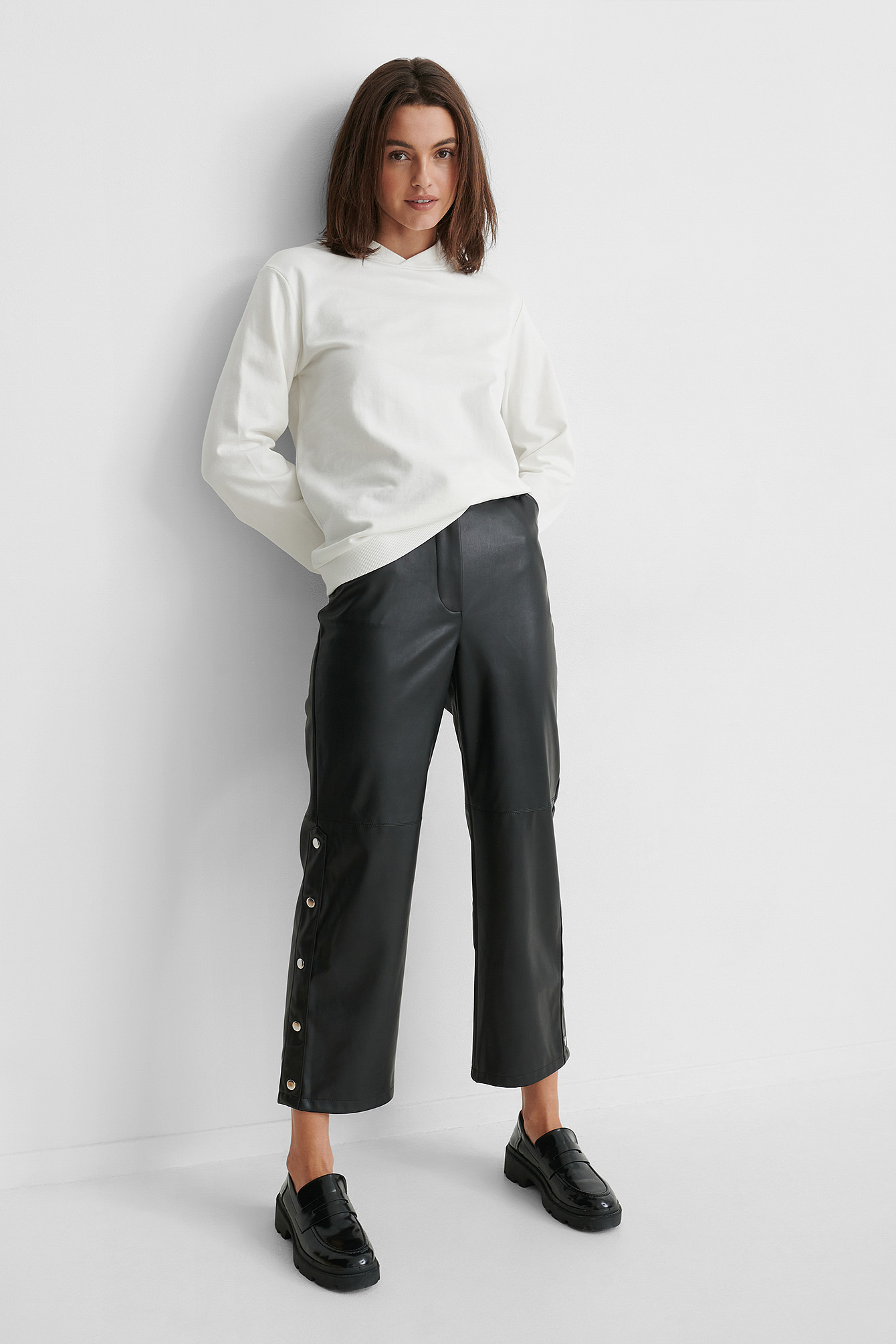 Black Pantalon Faux Cuir