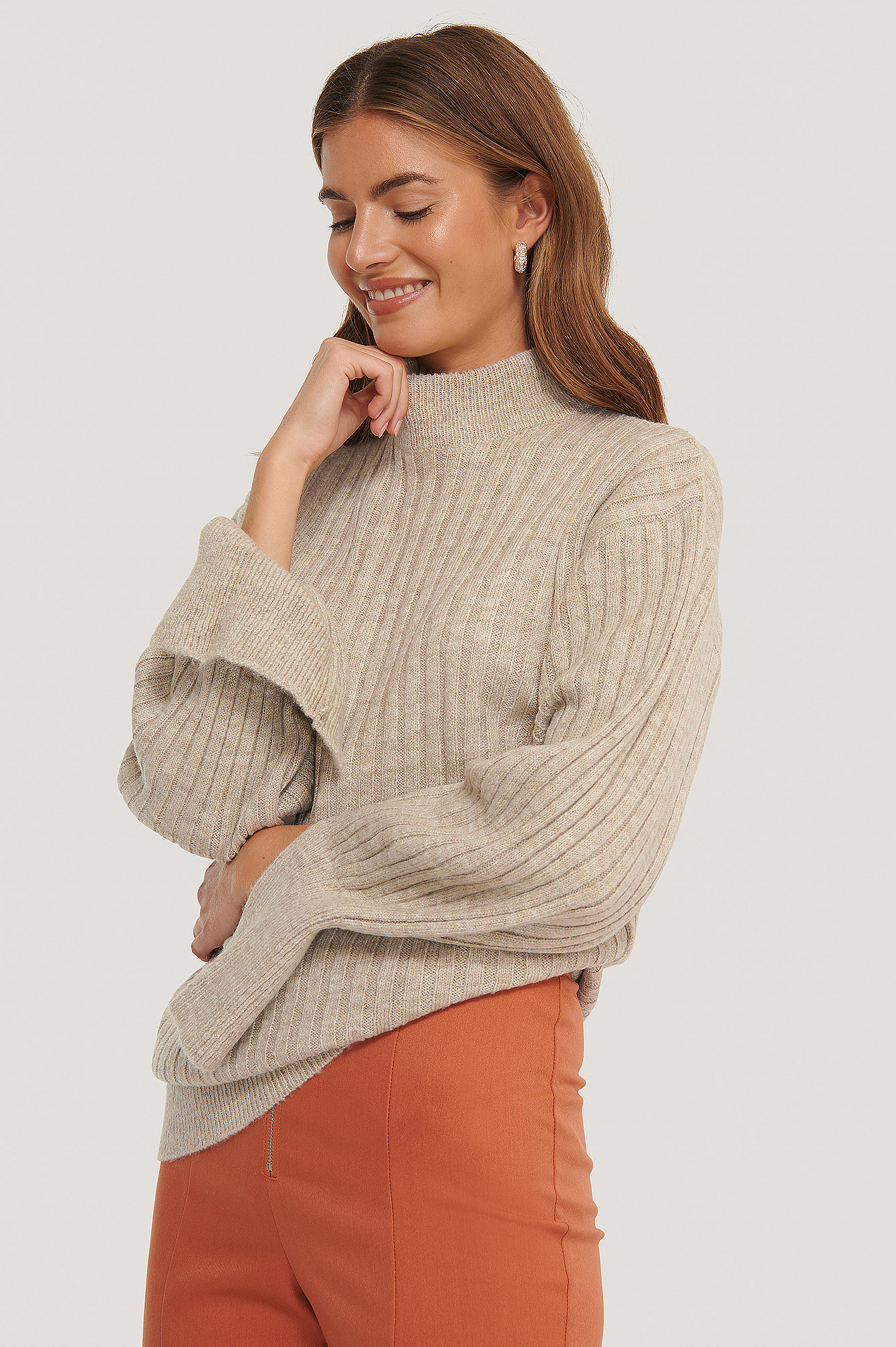 Light Beige Pull Tricoté Long