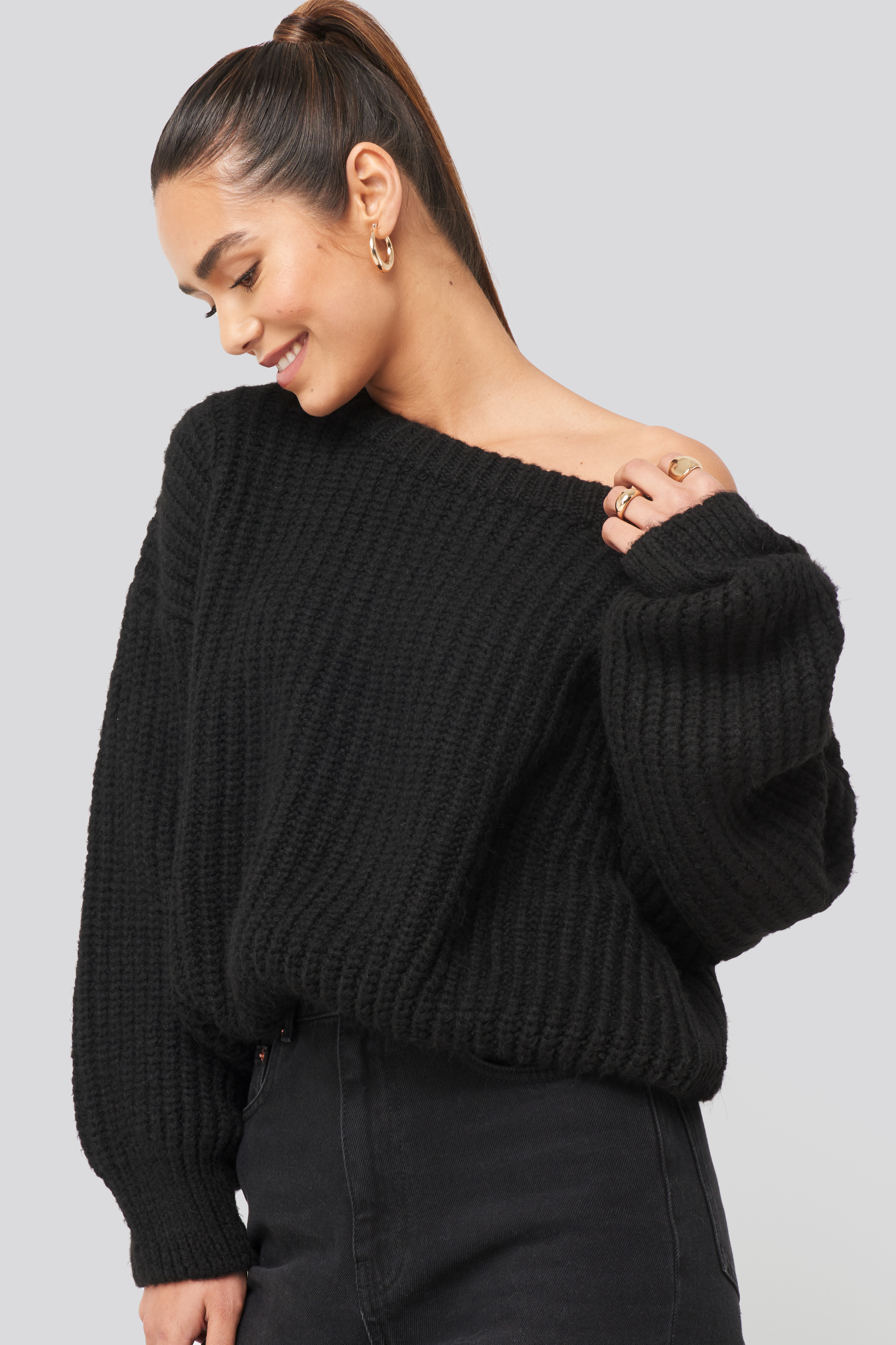 Black Chunky Knitted Off Shoulder Sweater