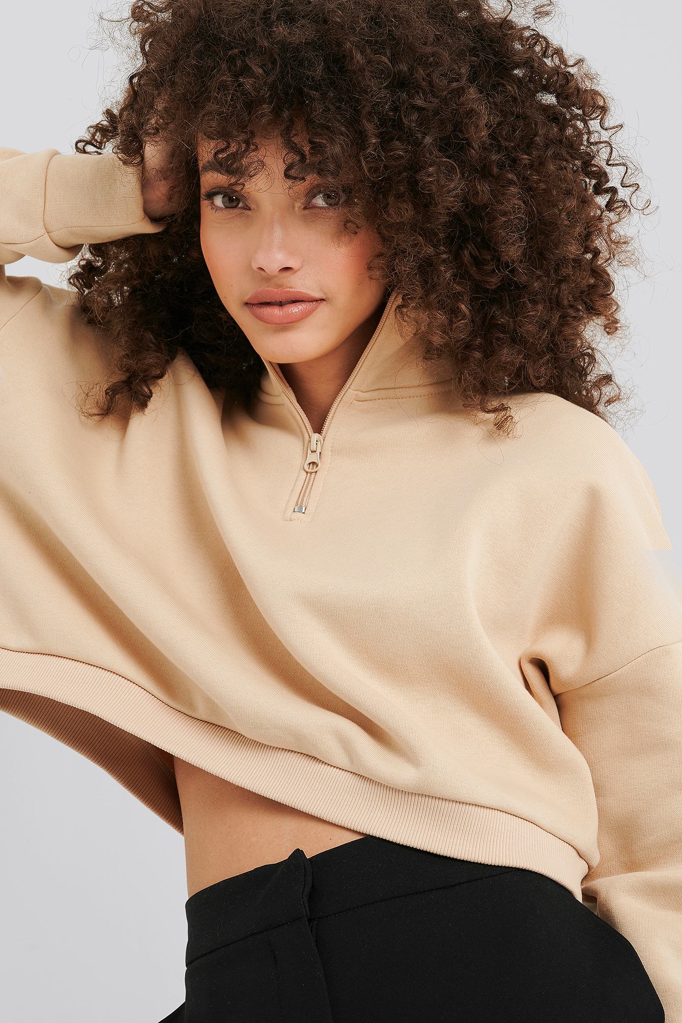 Beige Zipper Jersey Sweater