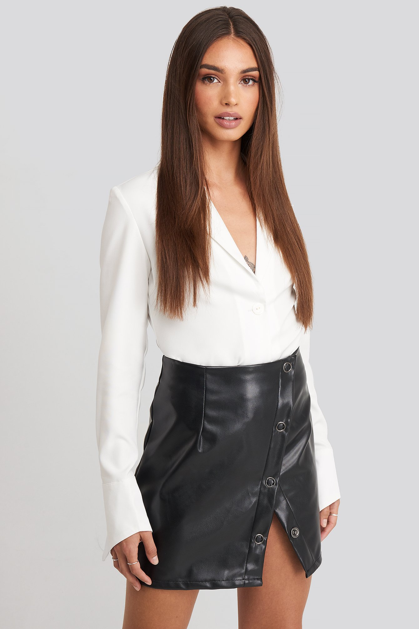Black Buttoned Wrap Skirt
