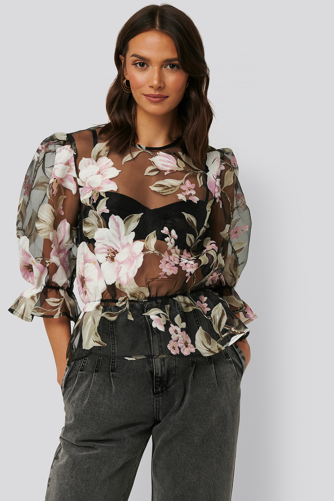 Black/Flower Print Haut Transparent