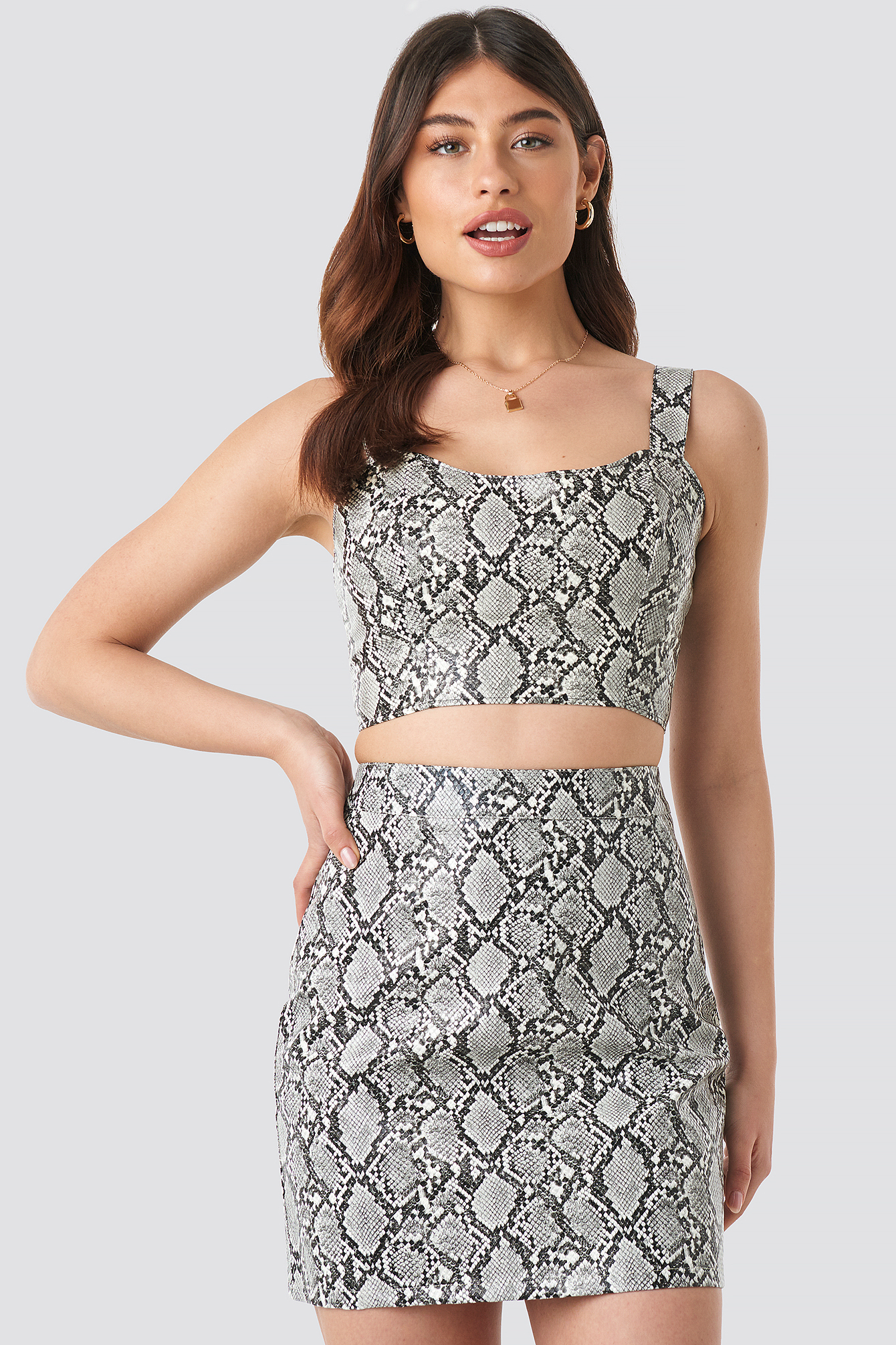 Snake Snake Printed PU Mini Skirt