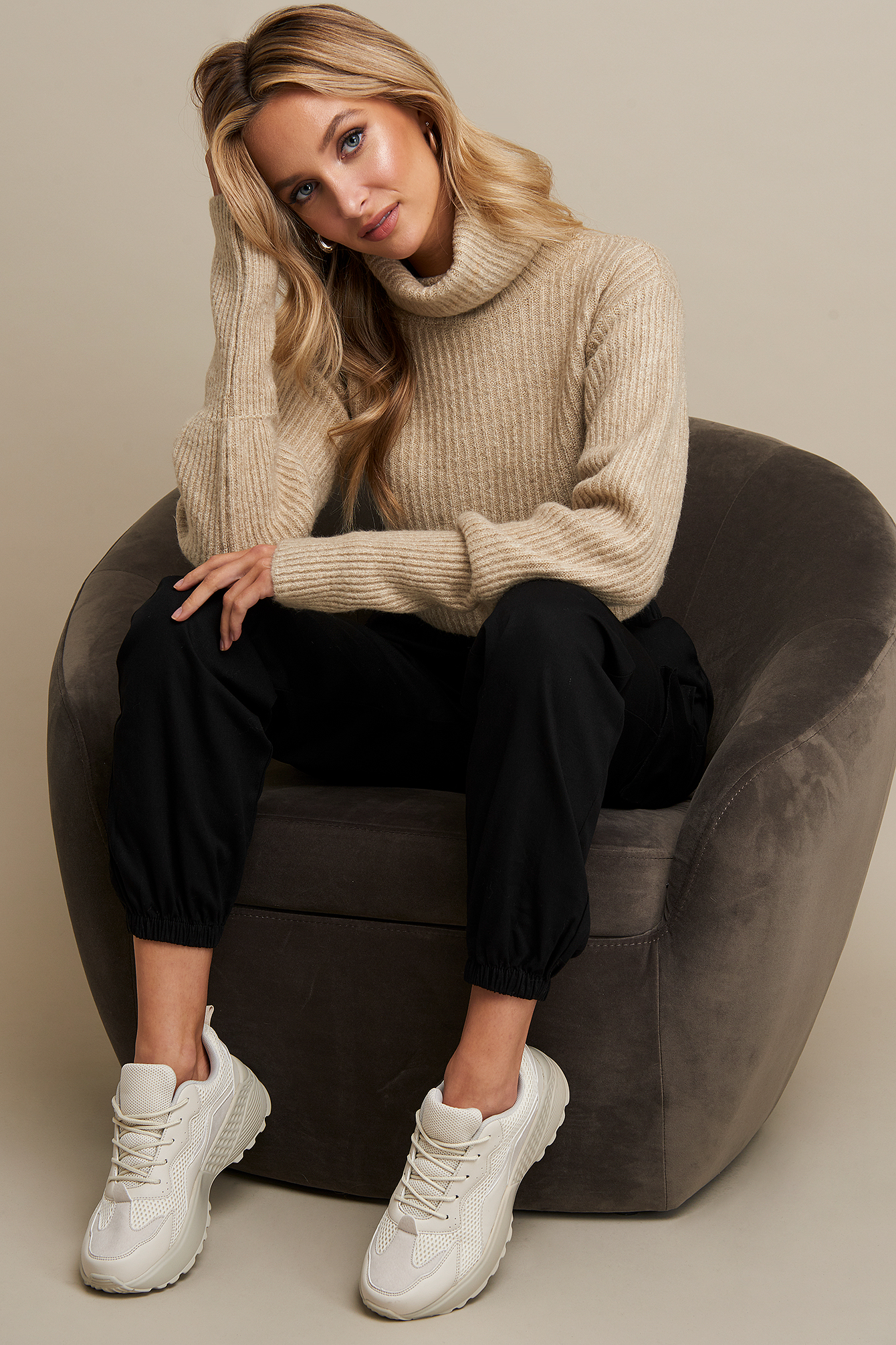 Beige High Neck Cropped Sweater