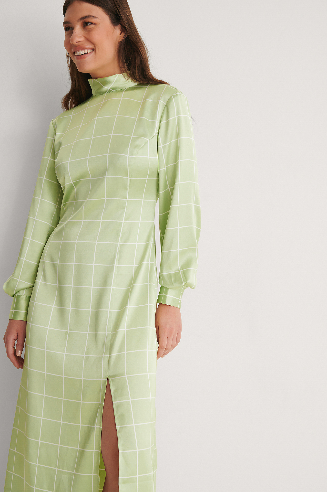 Green Print Robe Satin Col Haut