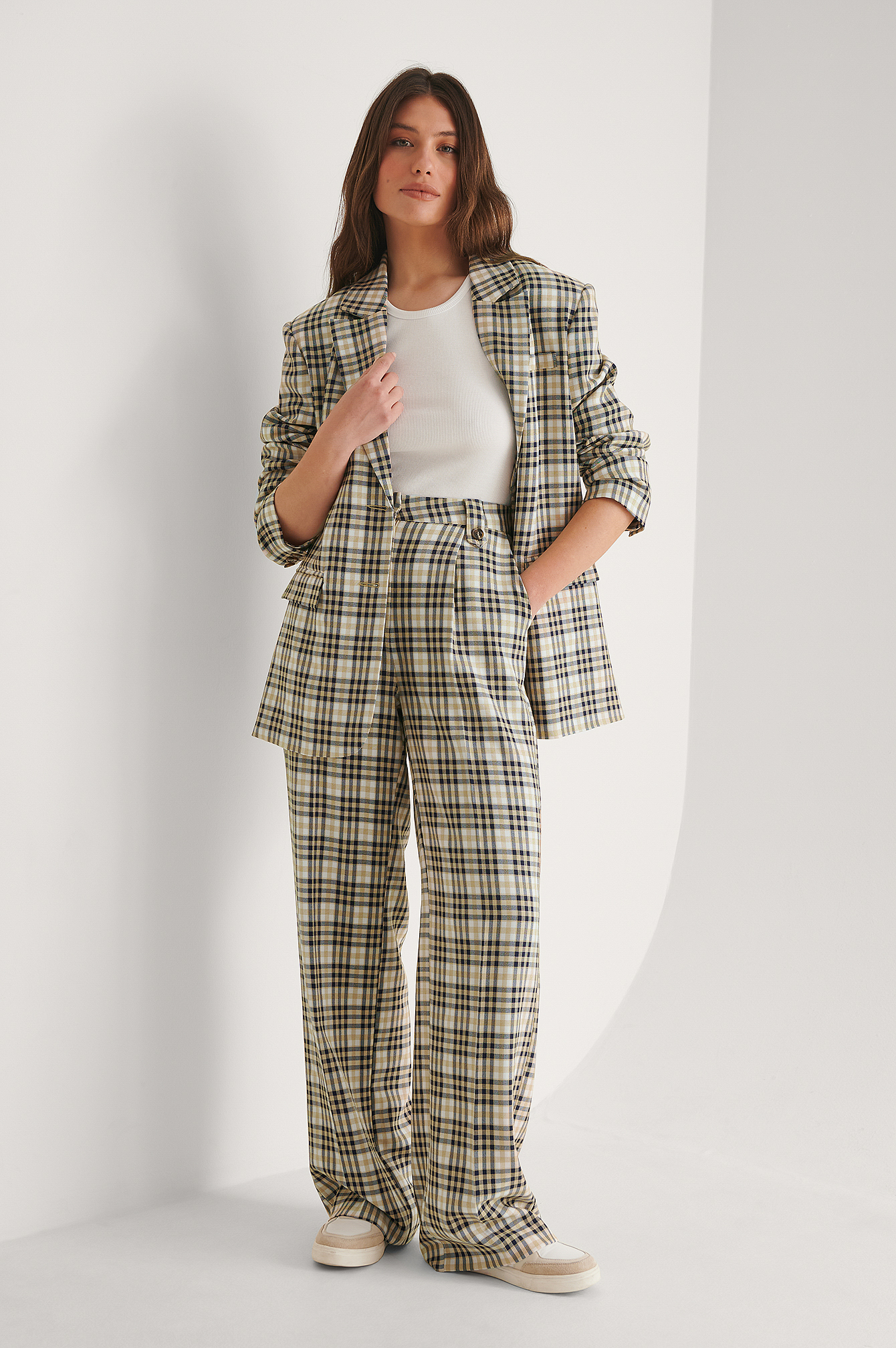 Beige Check Pantalon De Costume Droit