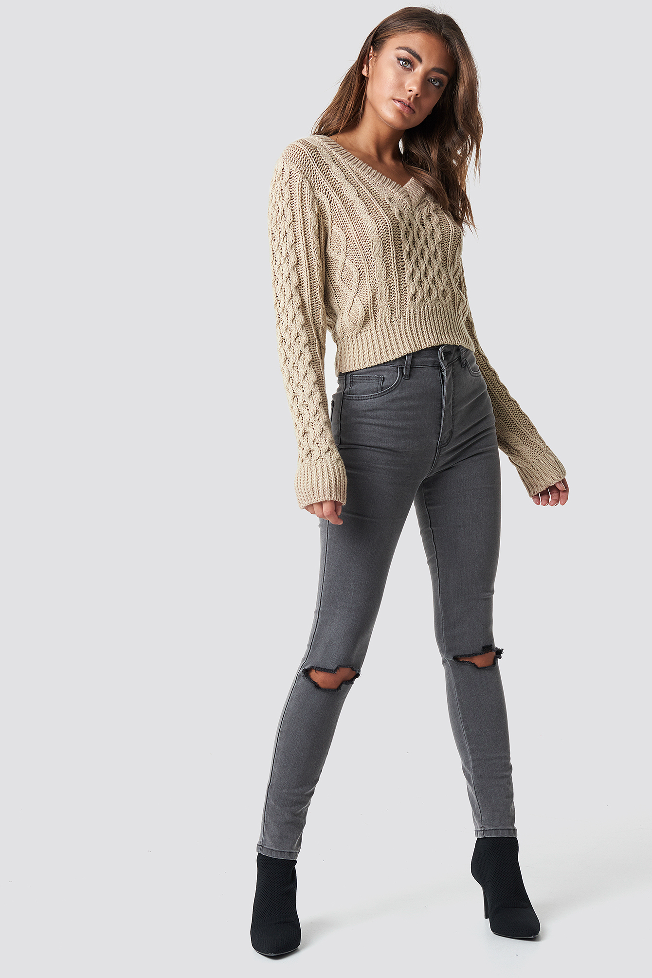Beige Cropped Cable Knit Sweater