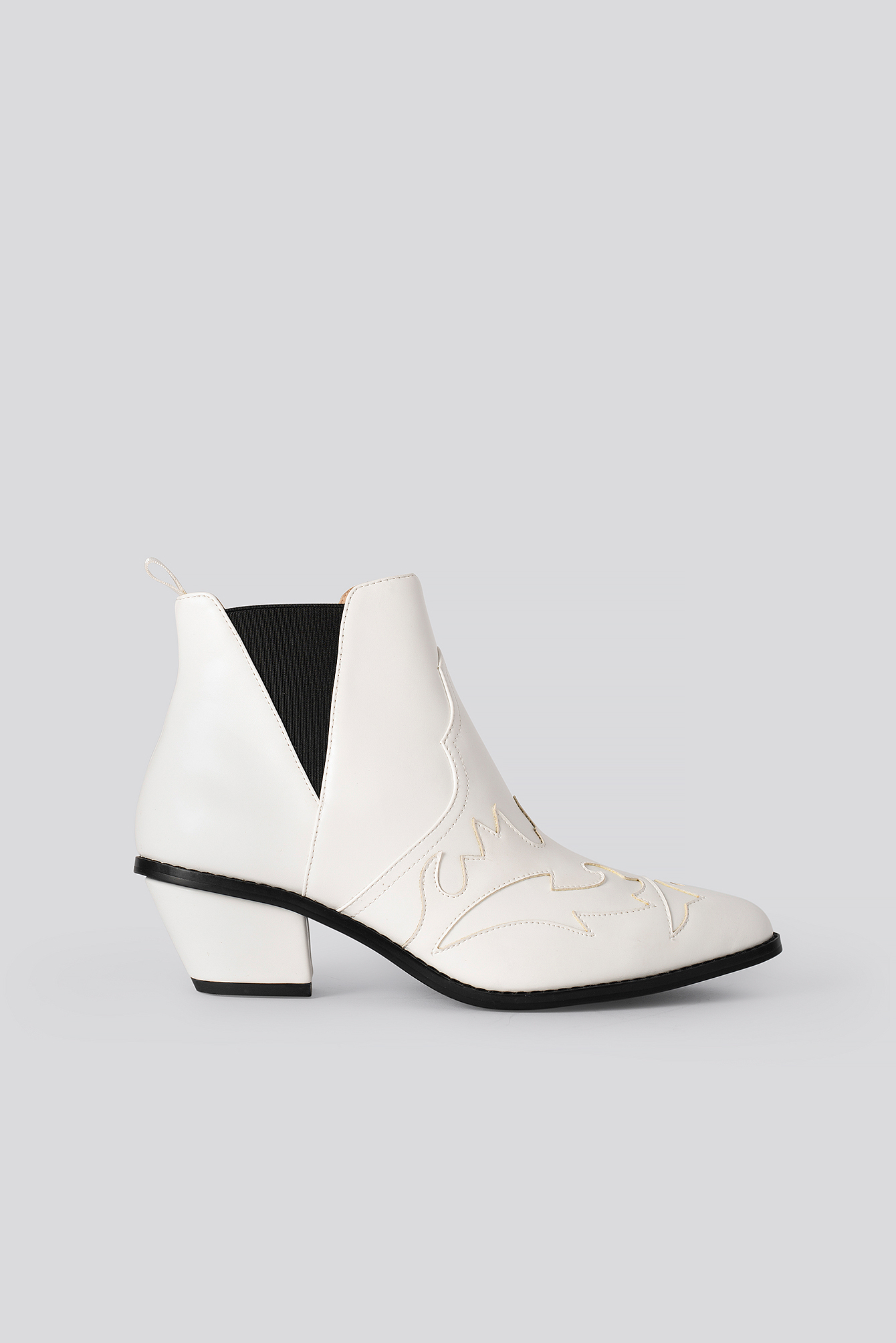 White Ankle Cowboy Bootie