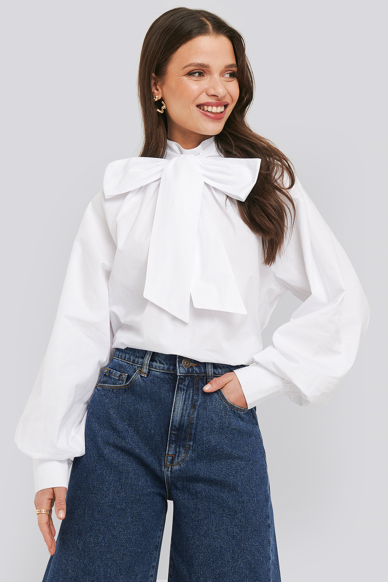 Optical White Balloon Sleeve Pussy Bow Boxy Blouse