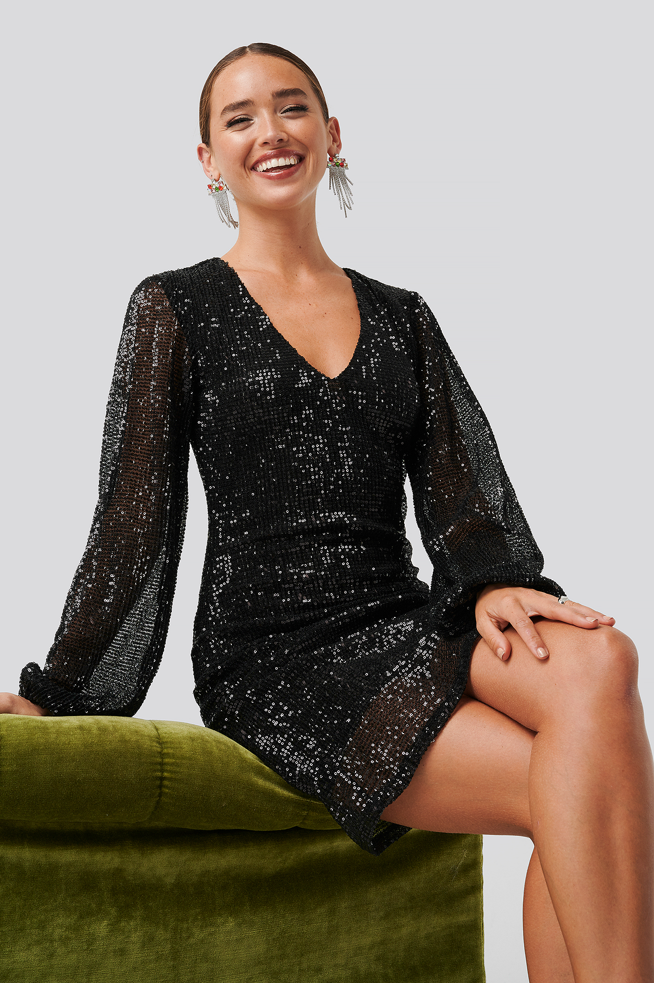 Black Balloon Sleeve Sequin Mini Dress