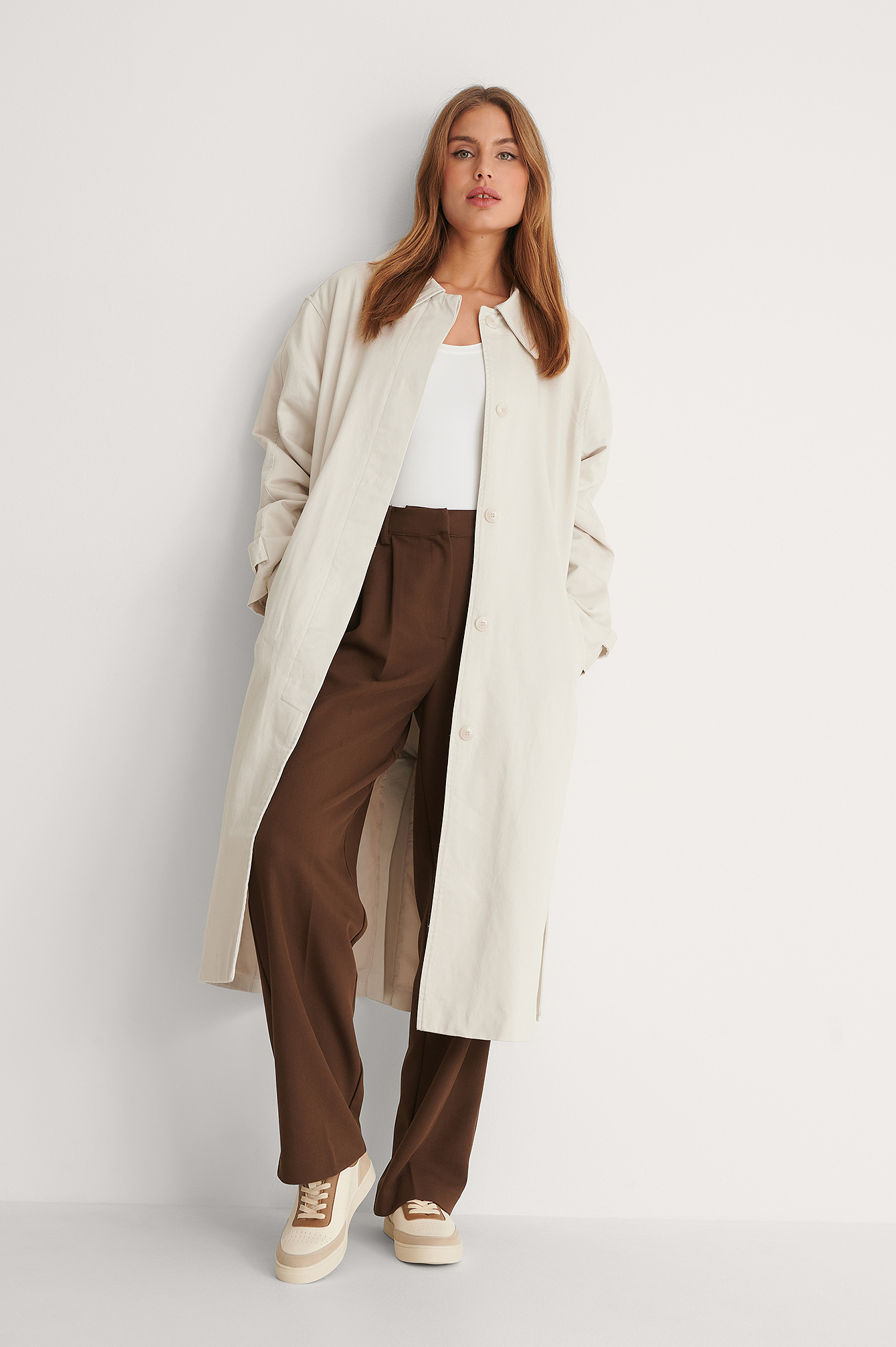 Light Beige Manteau Ceinturé