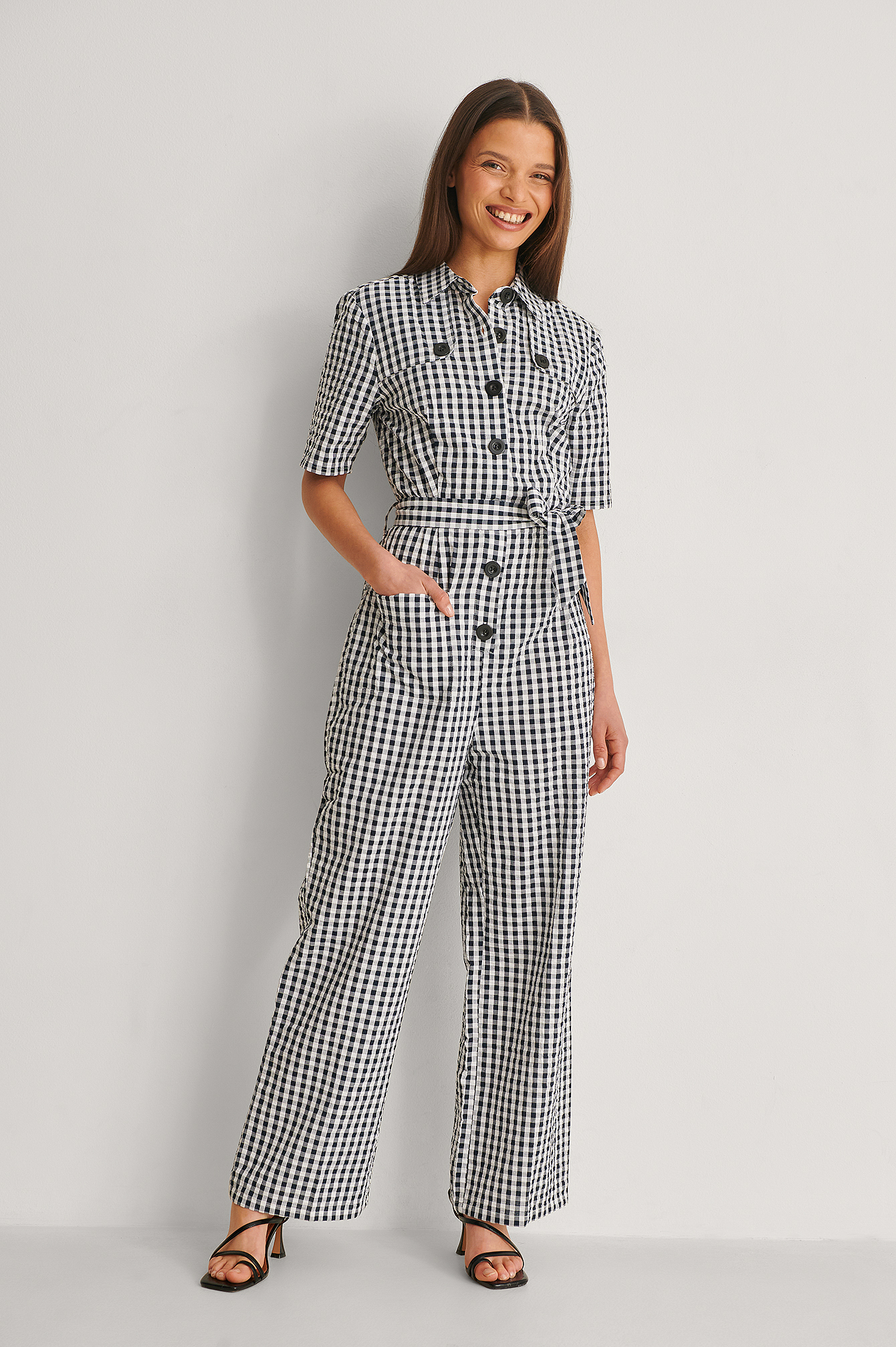Checkered Combinaison Pantalon Ceinturée
