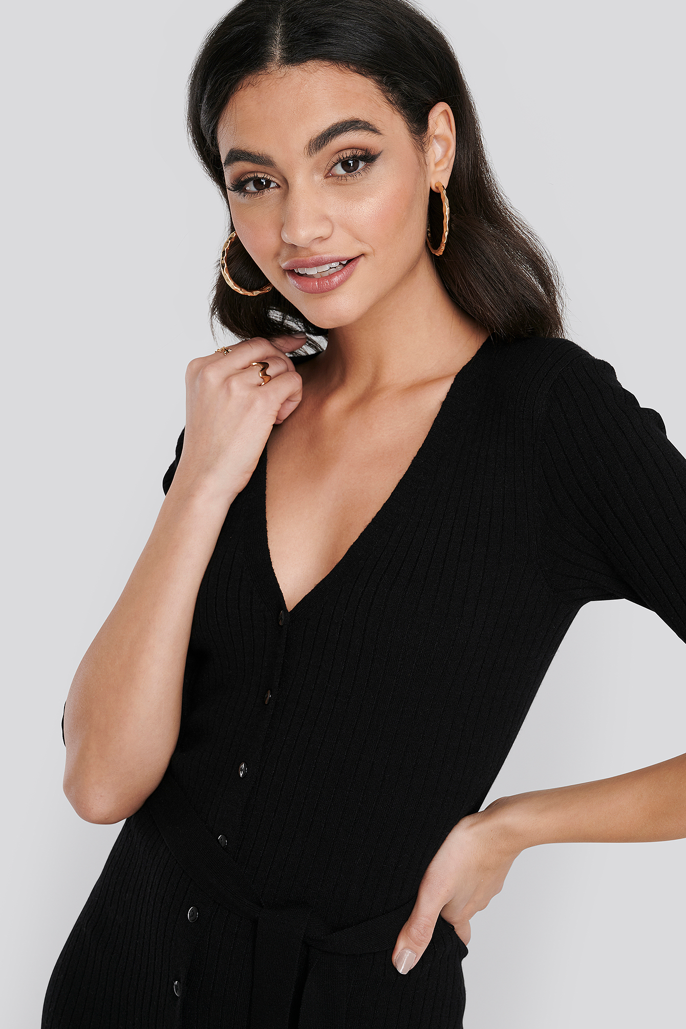Black Belted Ribbed Knitted Midi Dress