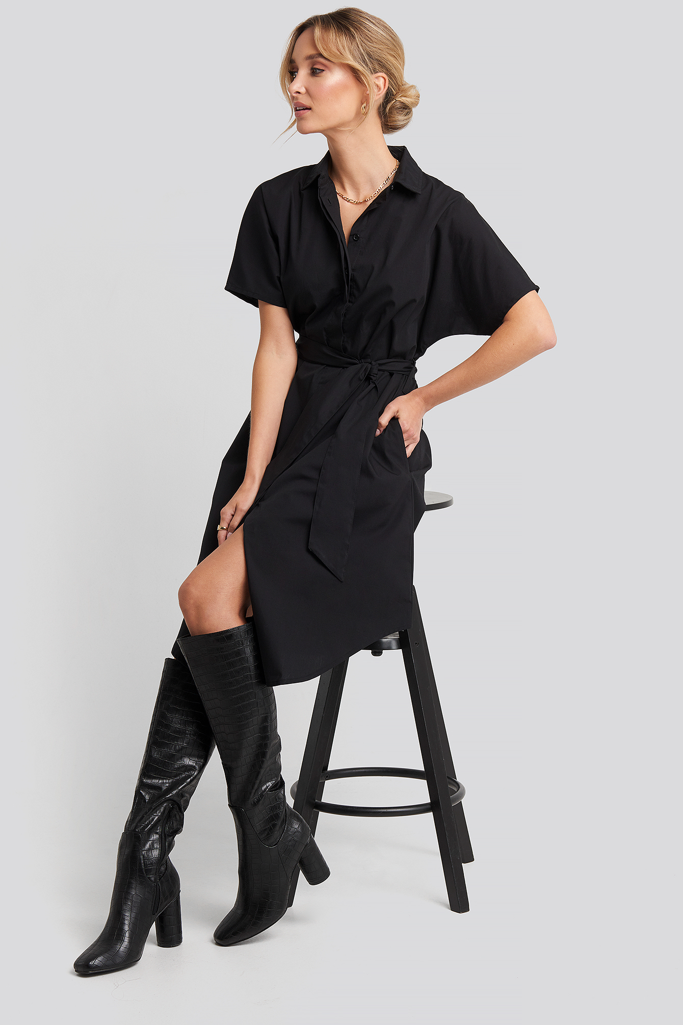 Black Belted Short Sleeve Shirt Dress