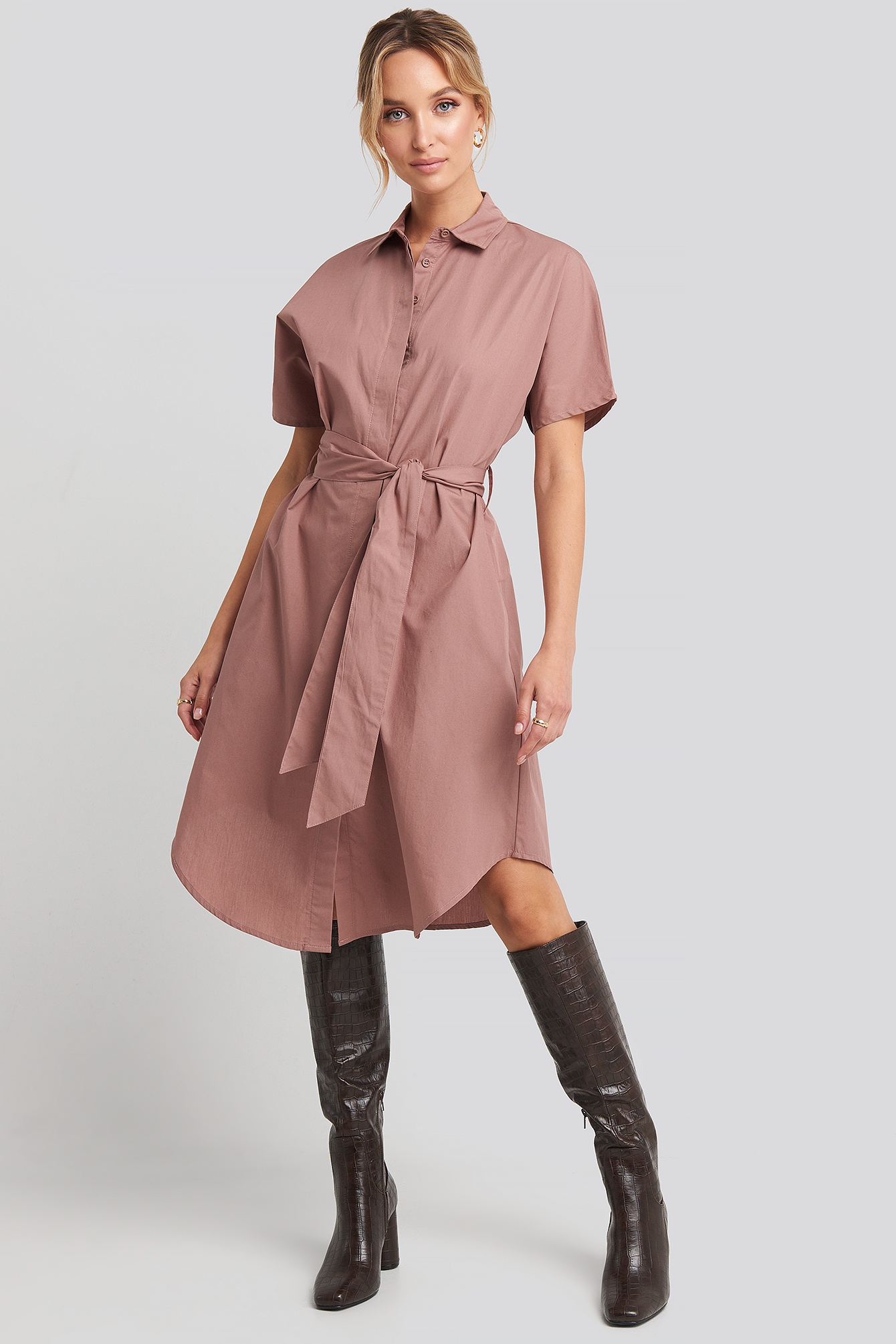 Burlwood Belted Short Sleeve Shirt Dress