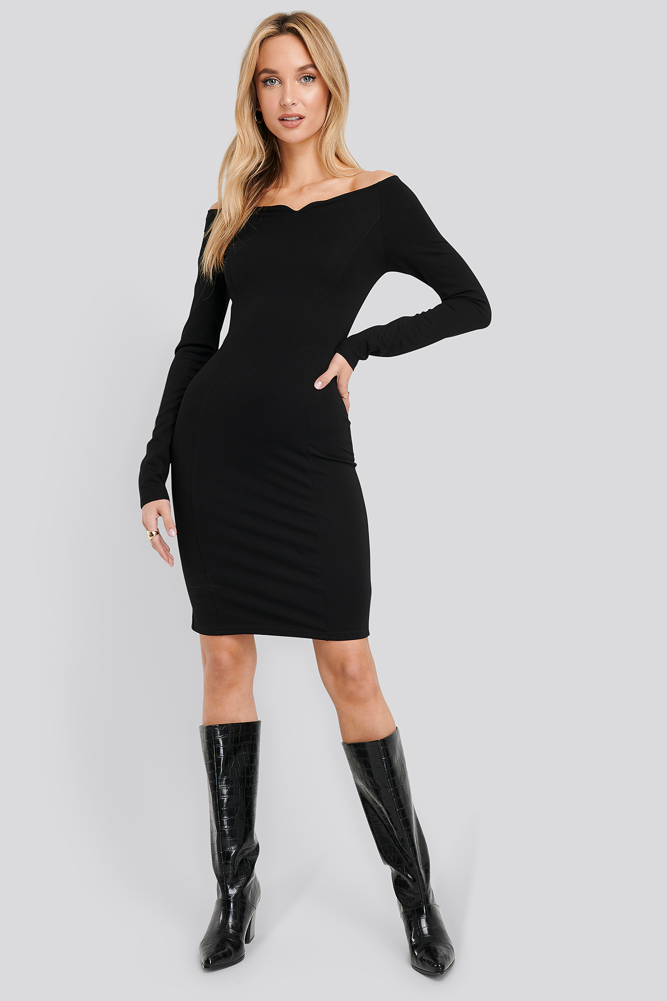 Black Slip Shoulder Bodycon Dress