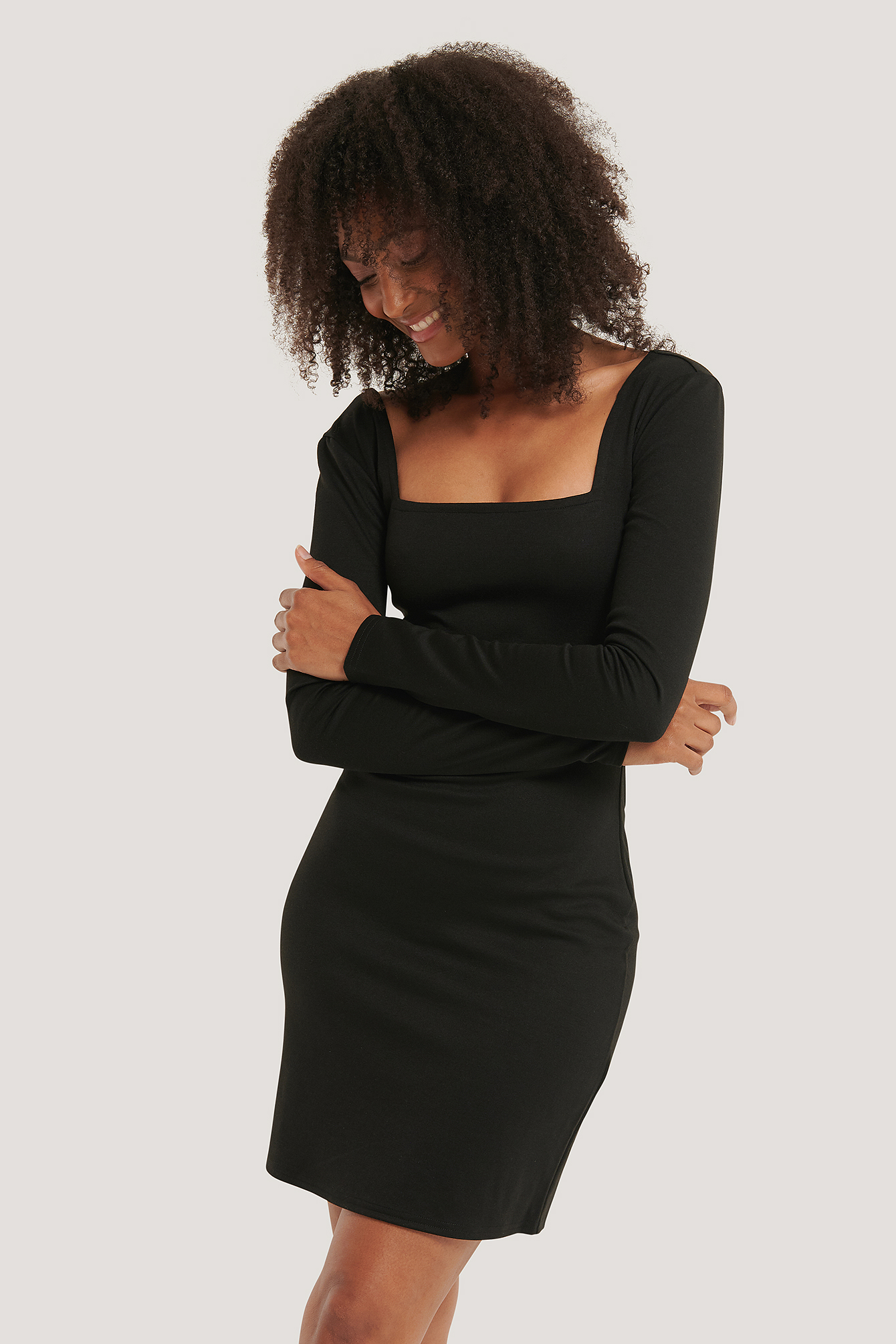 Black Bodycon Square Neck Dress