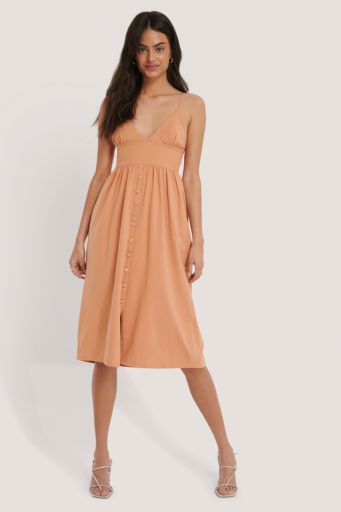 Salmon Button Detailed Cotton Dress