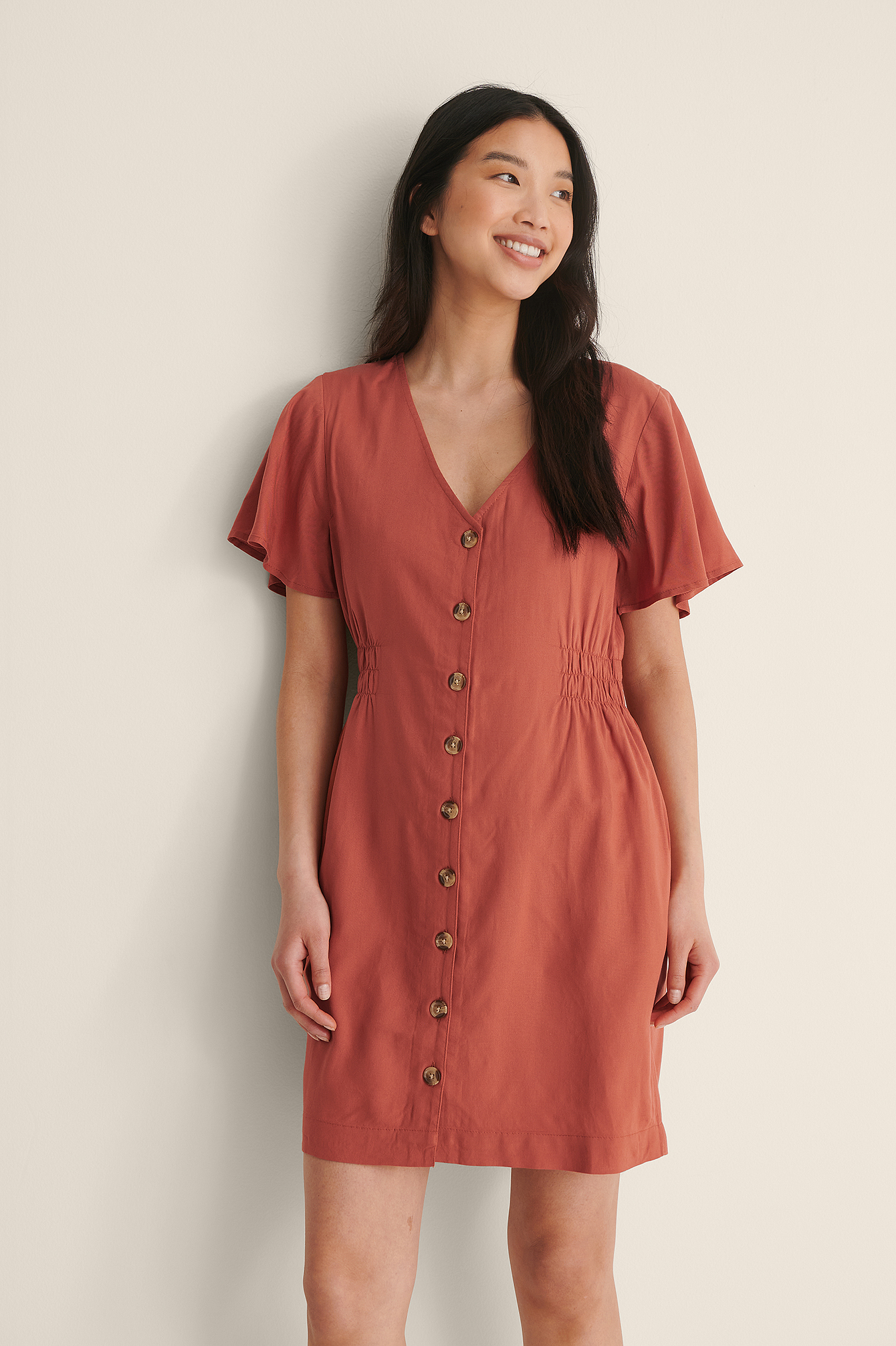 Rust Taille Courte Robe Boutonnée