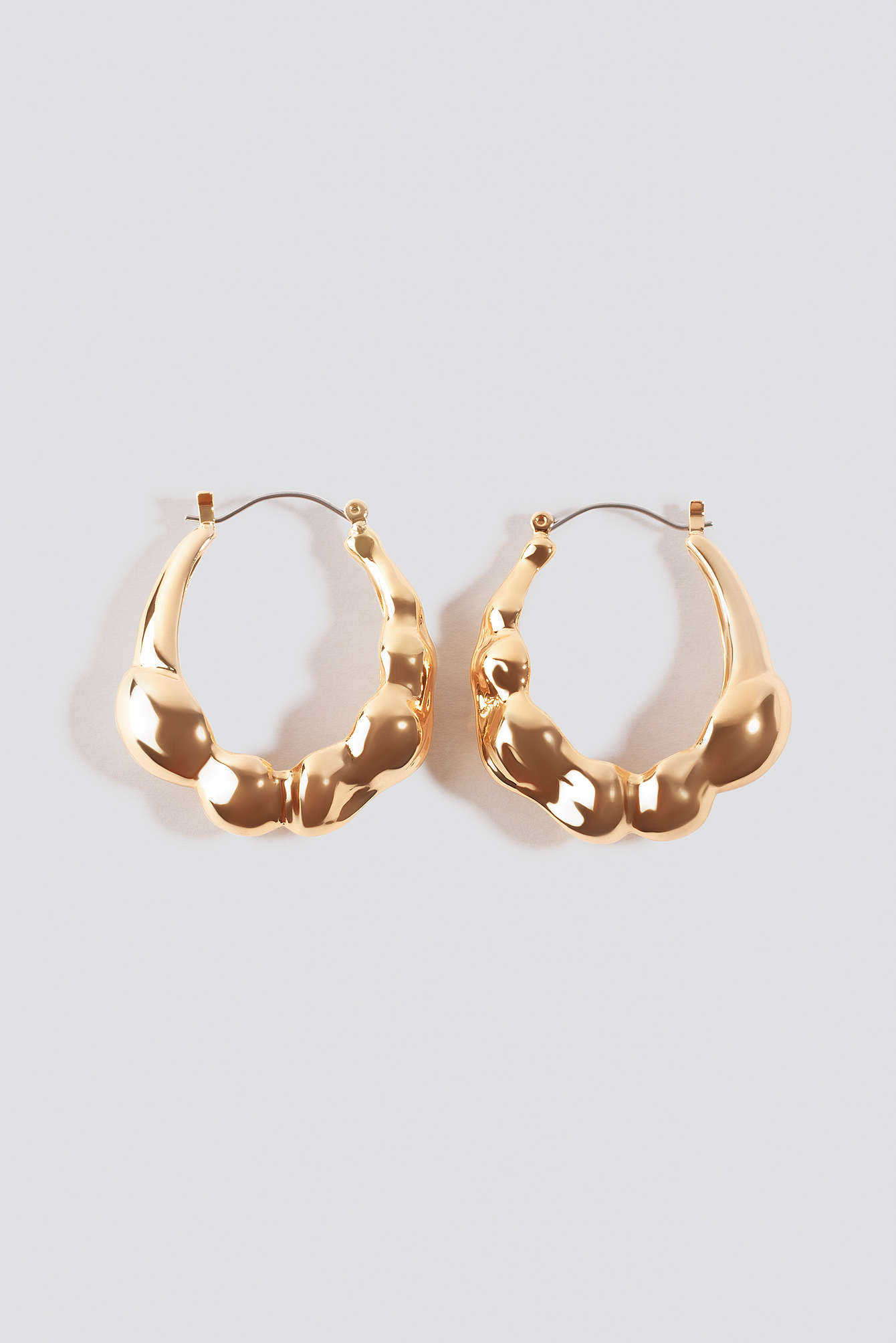 Gold Chubby Structured Hoop Earrings