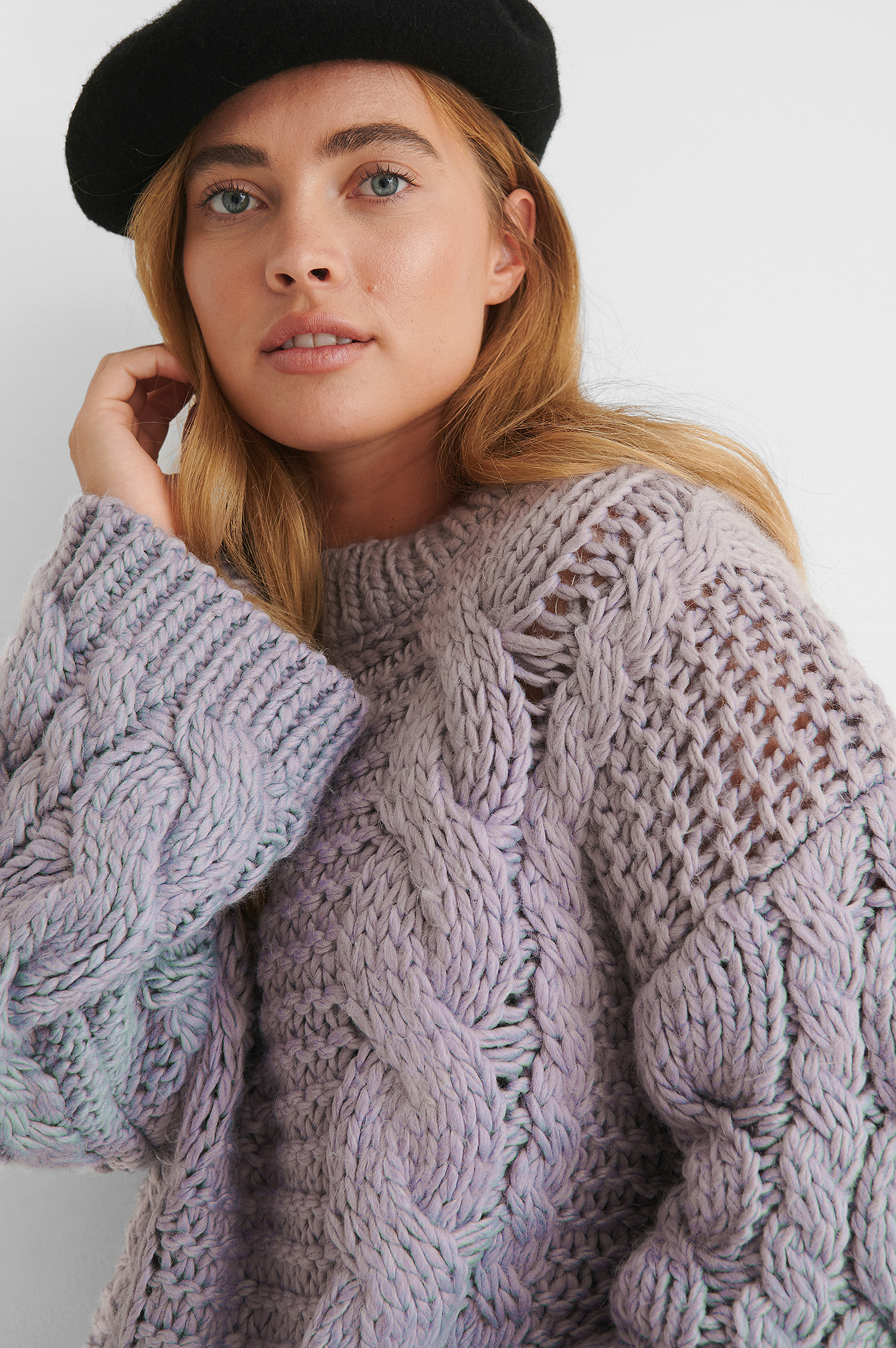 Purple Chunky Cable Knitted Sweater