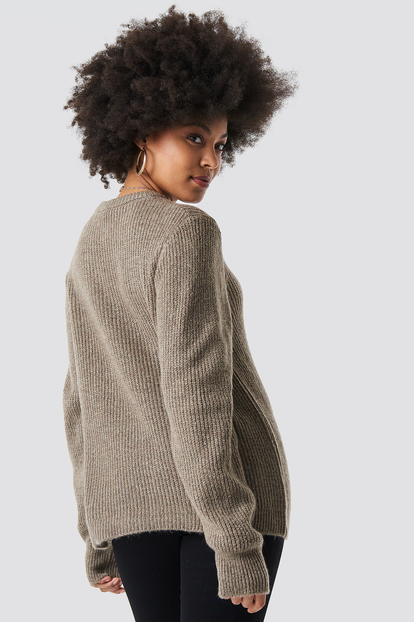 Beige Crew Neck Knitted Sweater