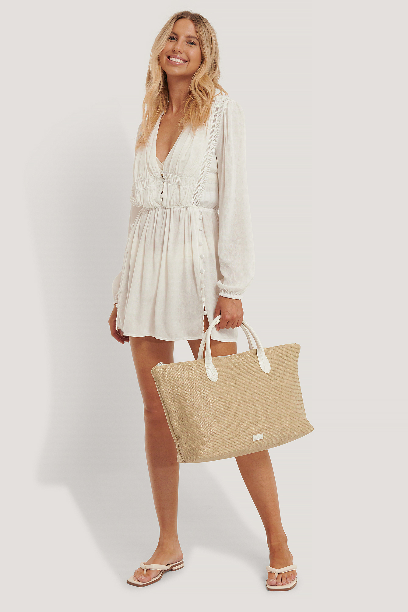 Beige Croc Handle Beach Bag
