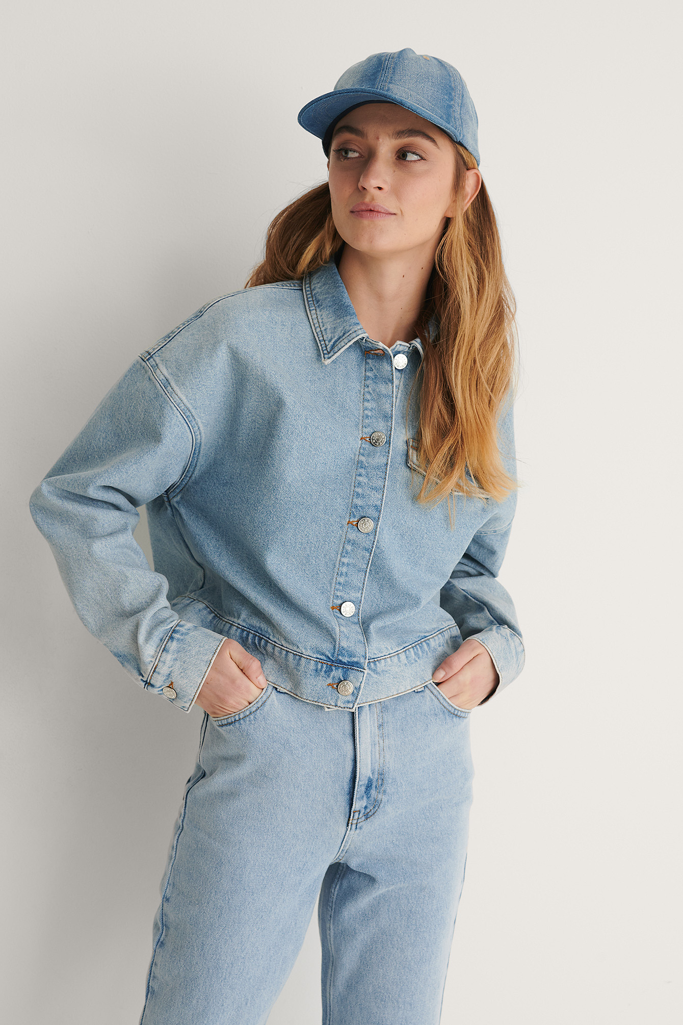 Light Blue Veste Courte Denim