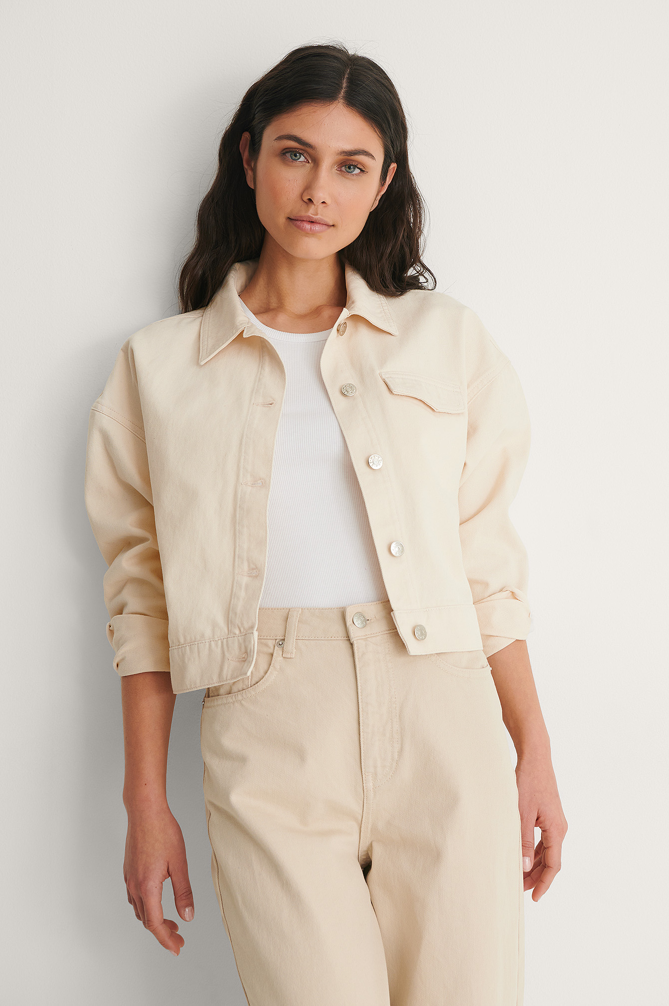 Light Beige Veste Courte Denim