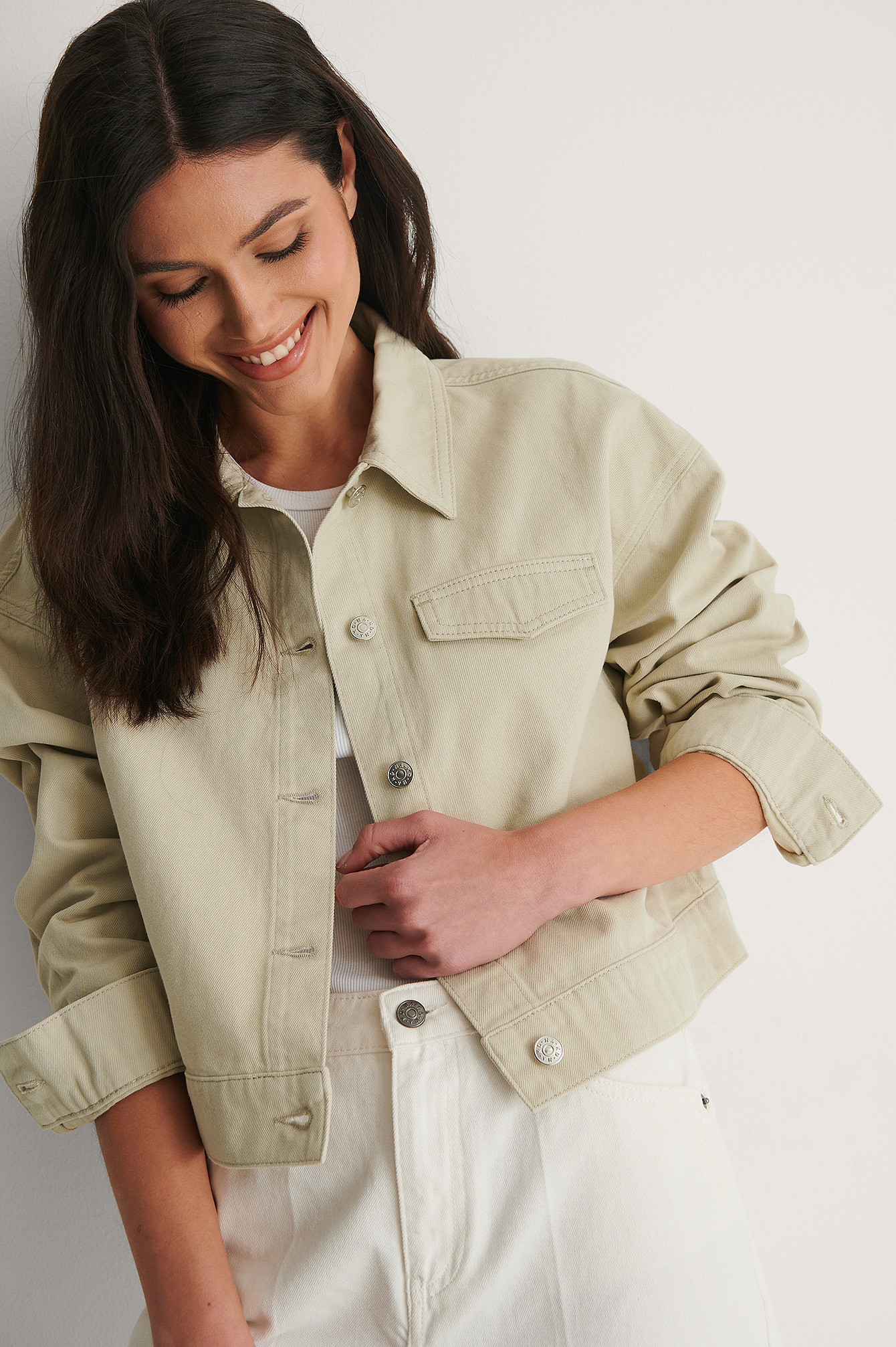 Light Khaki Veste Courte Denim