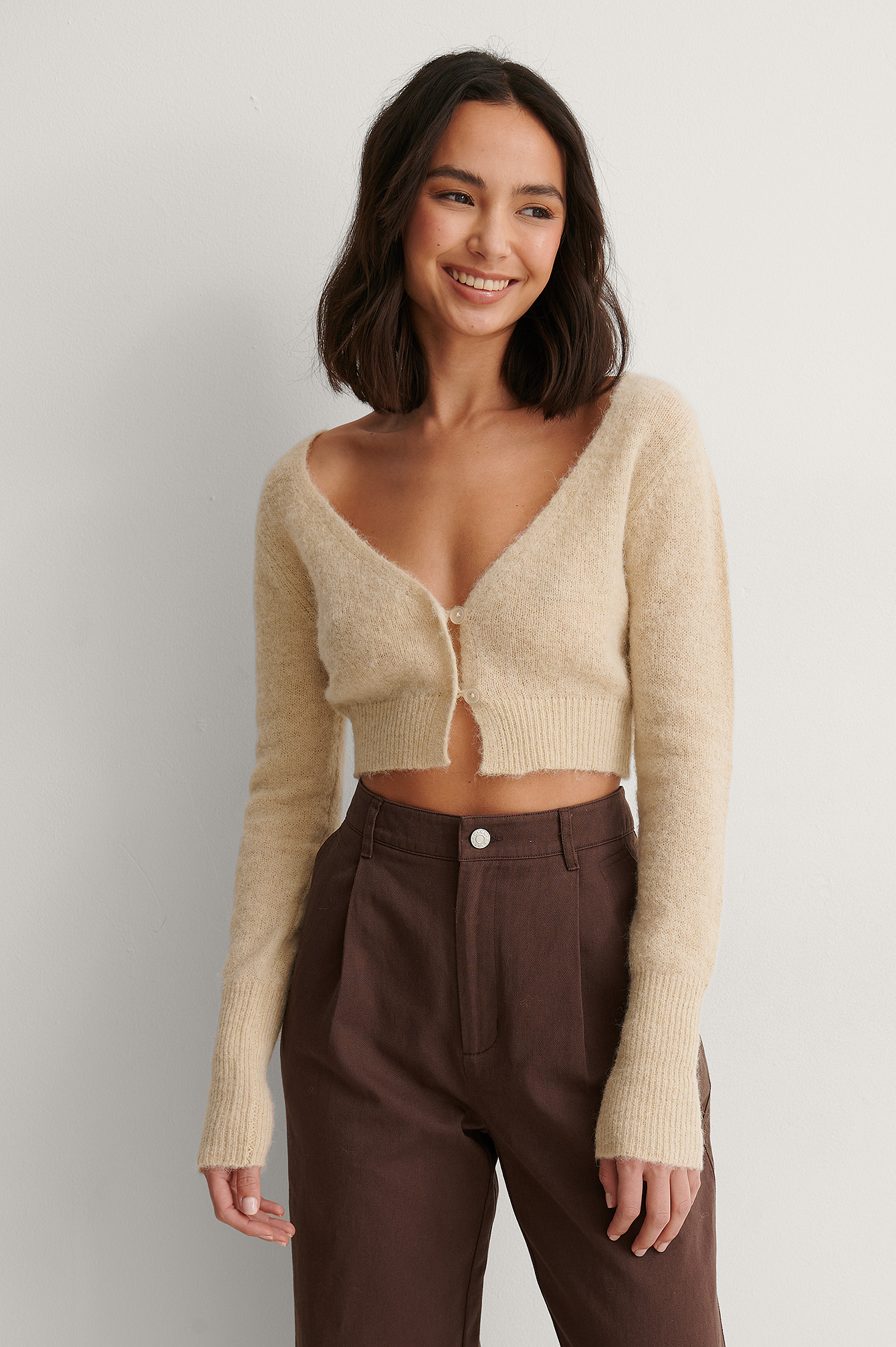 Light Beige Cardigan Court En Tricot