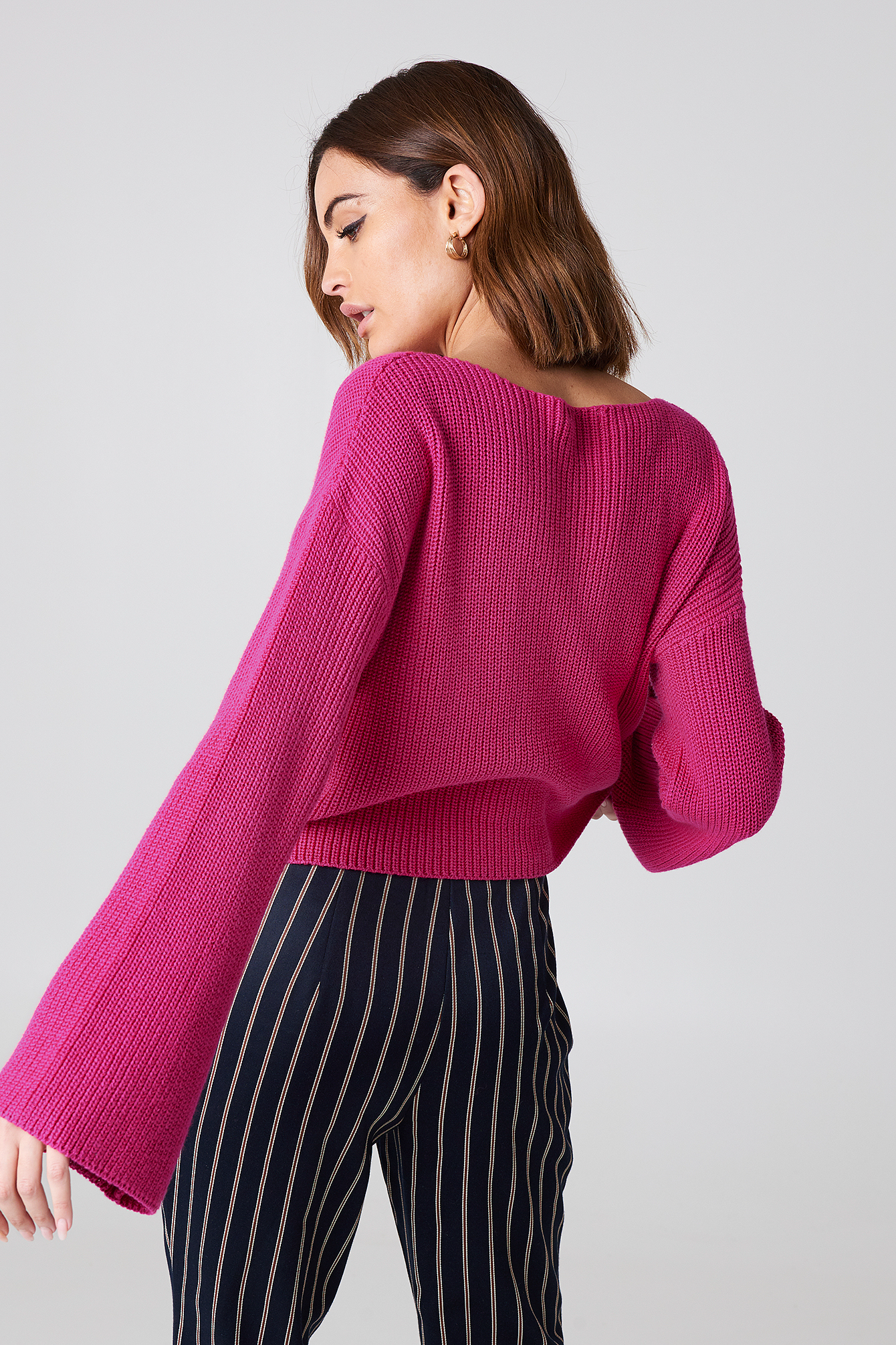 Cabernet Cropped Long Sleeve Knitted Sweater
