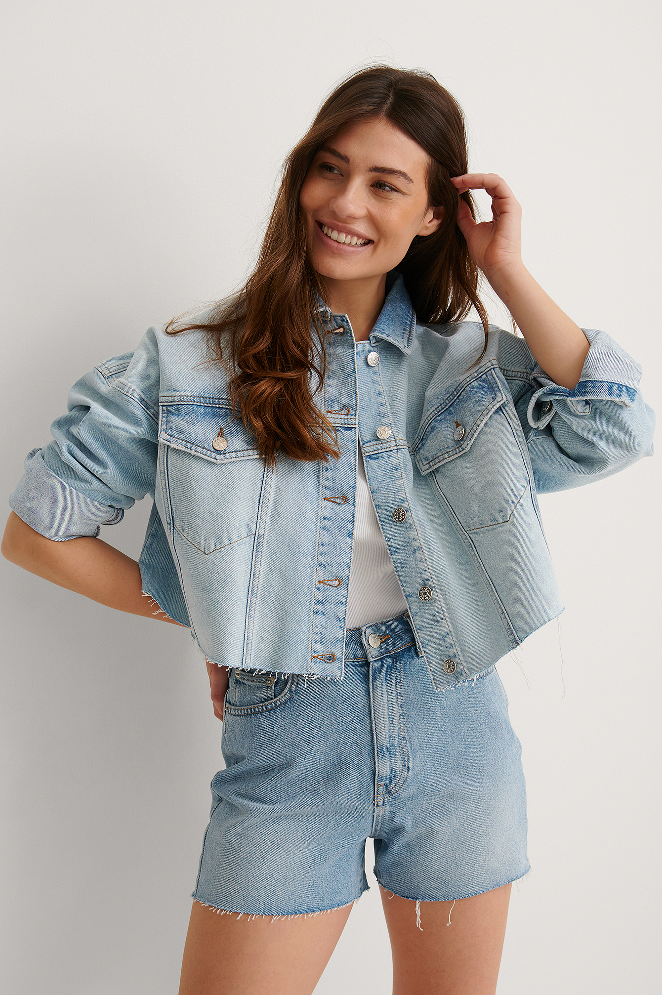 Light Blue Biologique Veste En Denim À Ourlet Brut