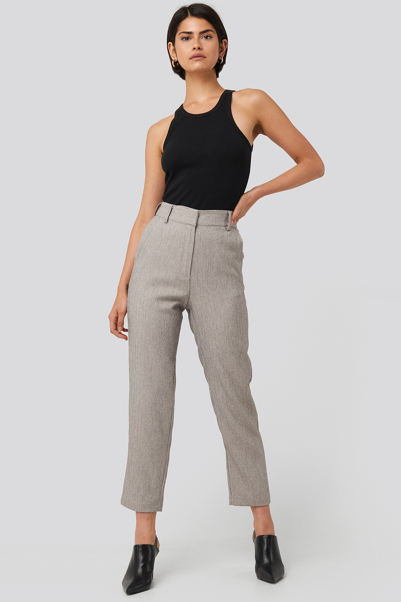 Grey Melange Cropped Suit Pants