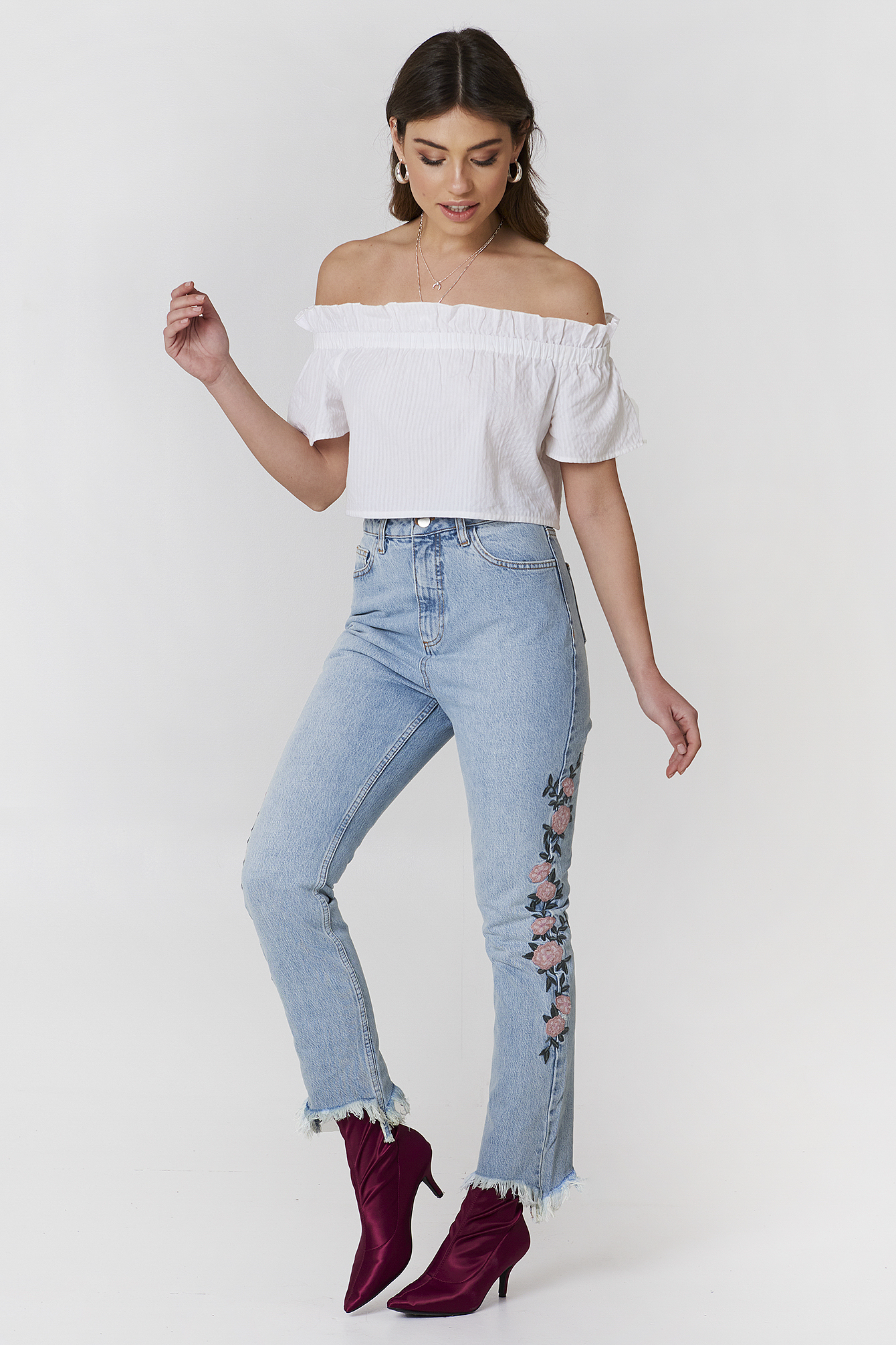 Light Blue Denim Embroidered Ripped Bottom Jeans