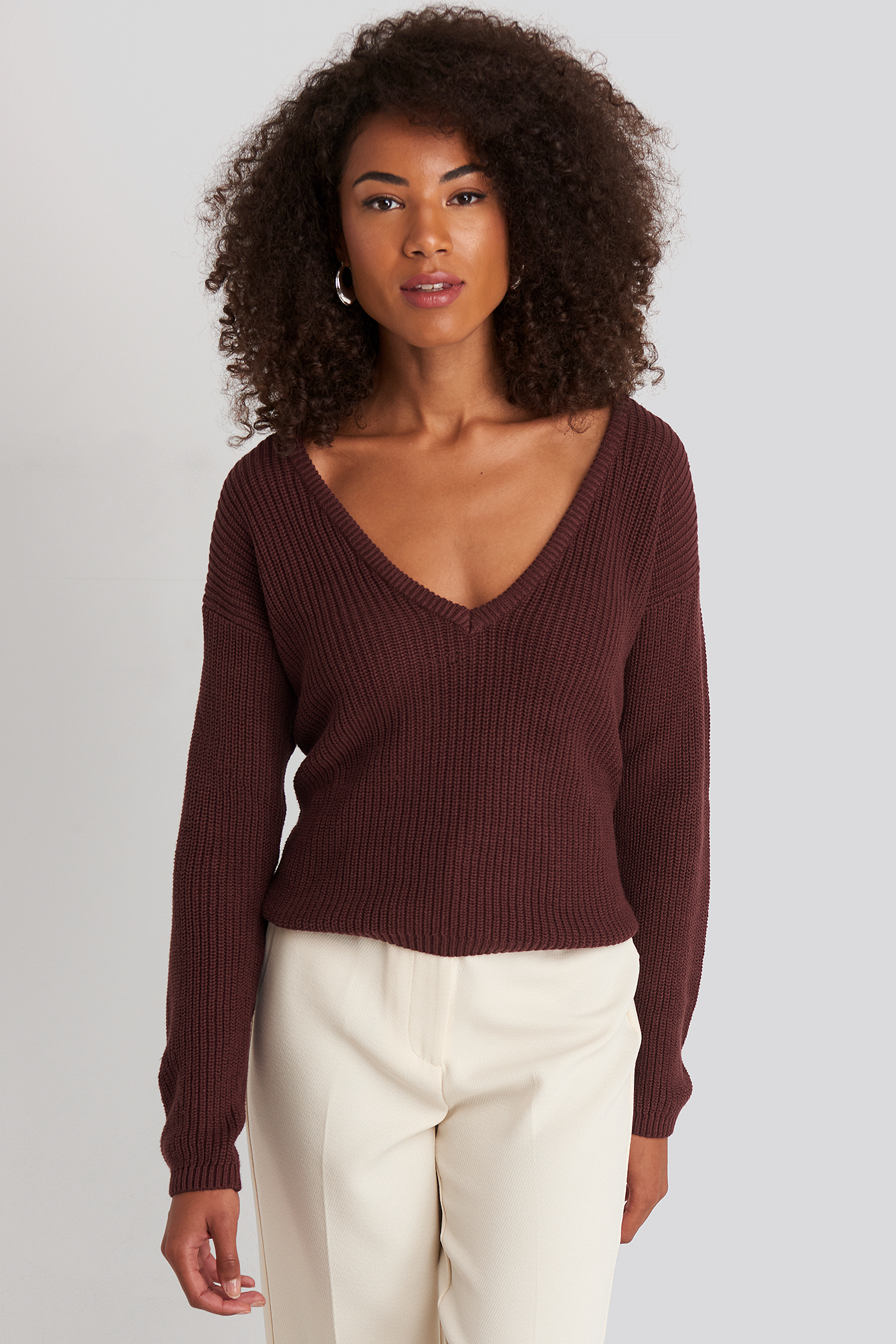 Burgundy Deep Front V-neck Knitted Sweater