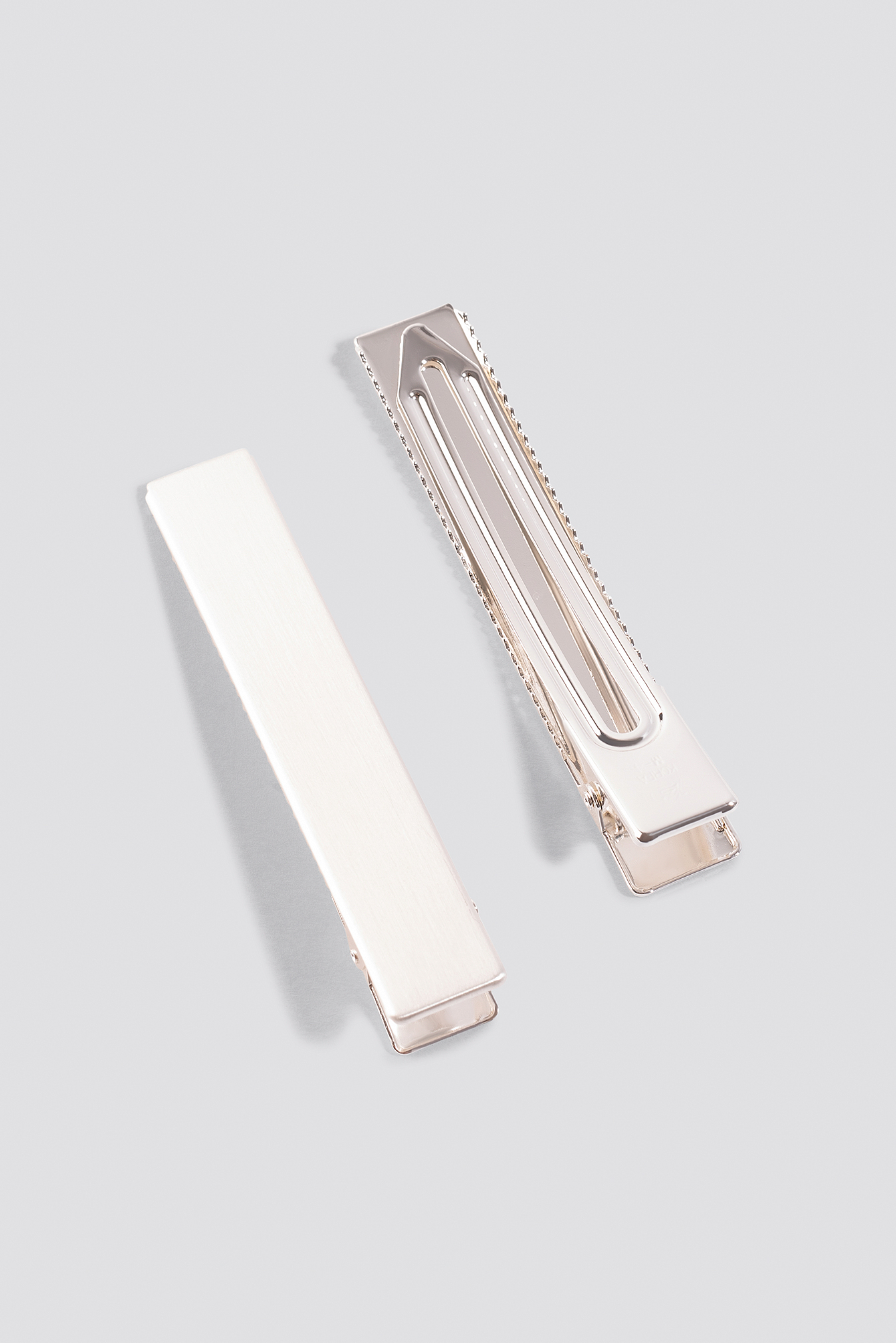 Silver Double Pack Squared Hairclip