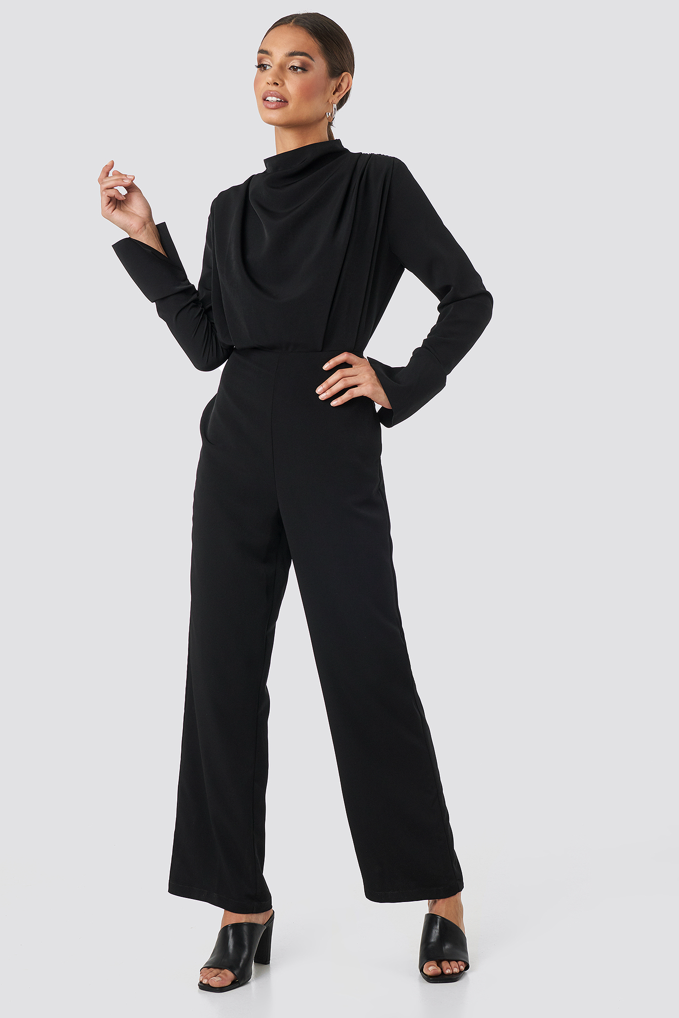 Black Draped Jumpsuit