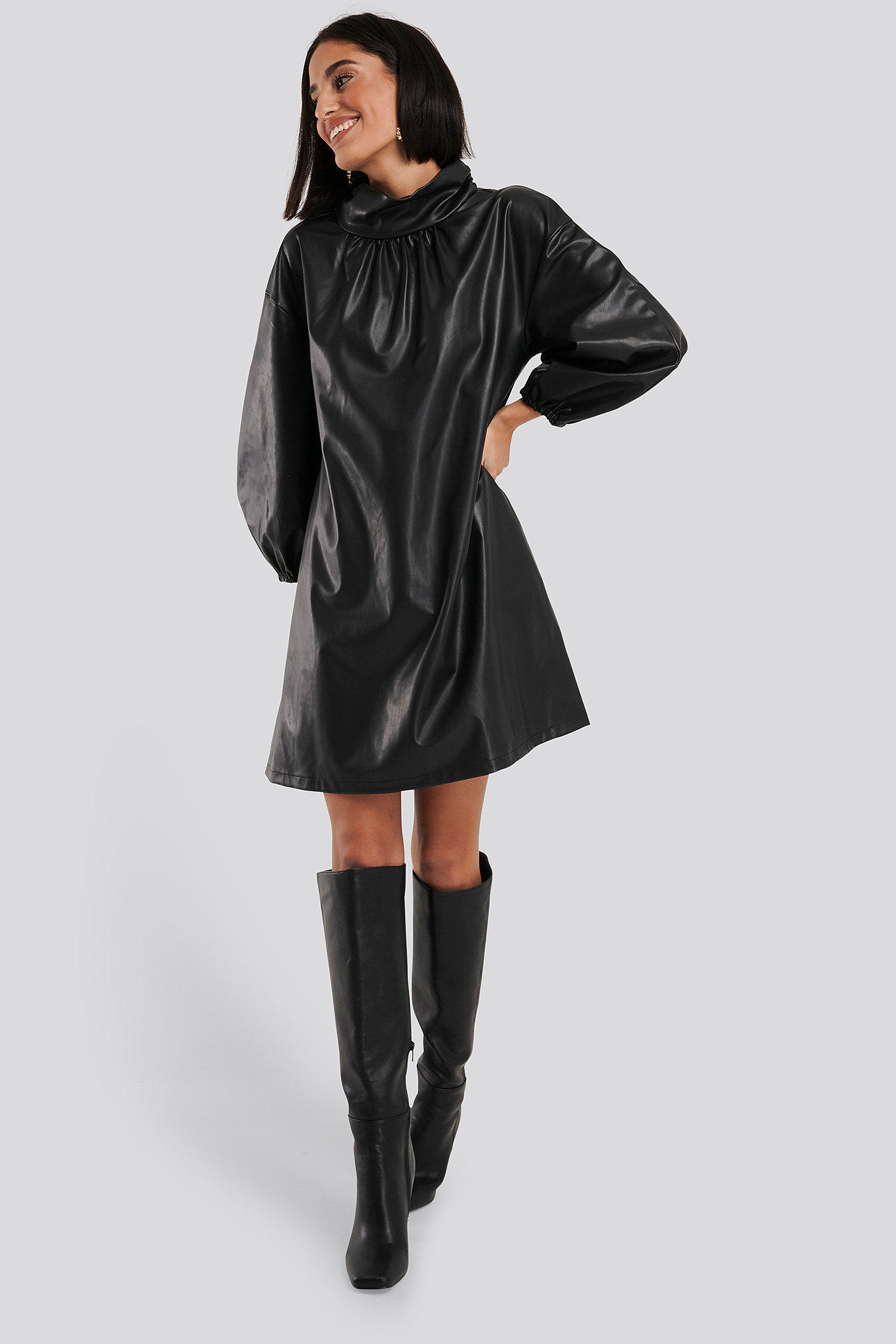 Black Faux Leather Full Volume Mini Dress