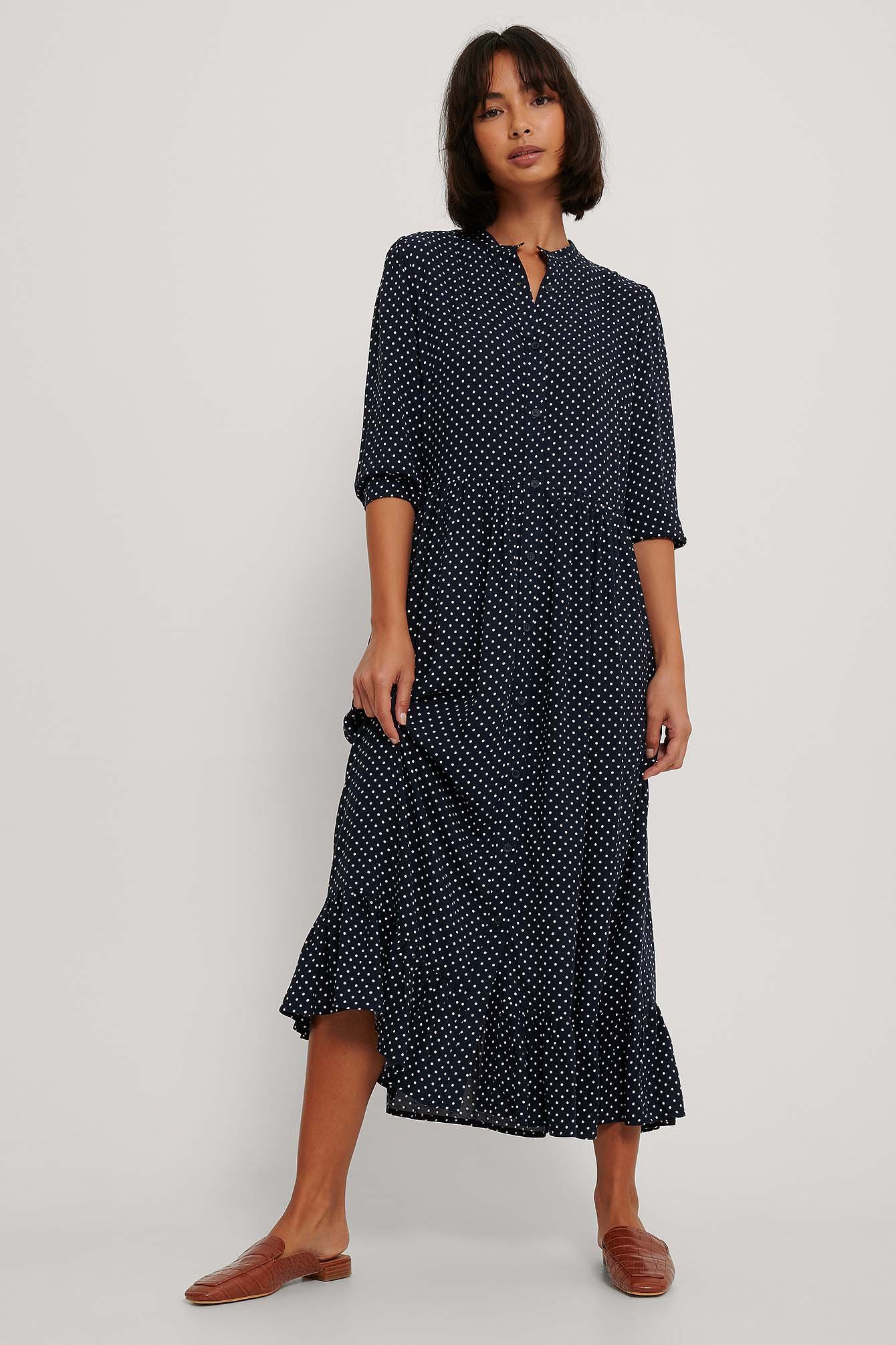 White Dots Maxi Robe