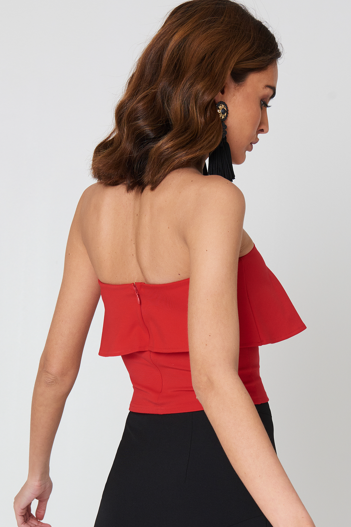 Red Frill Bandeau Top